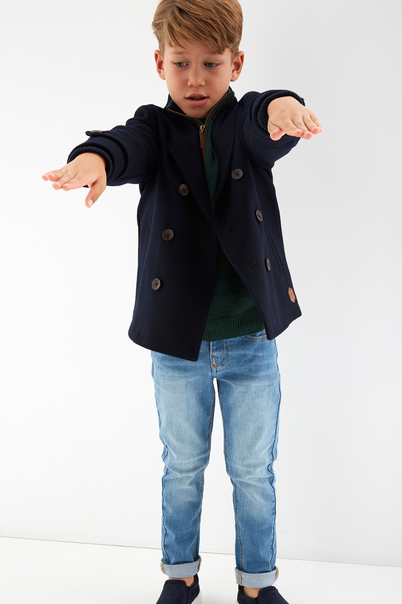 Overcoat Dark Blue Casual Boy