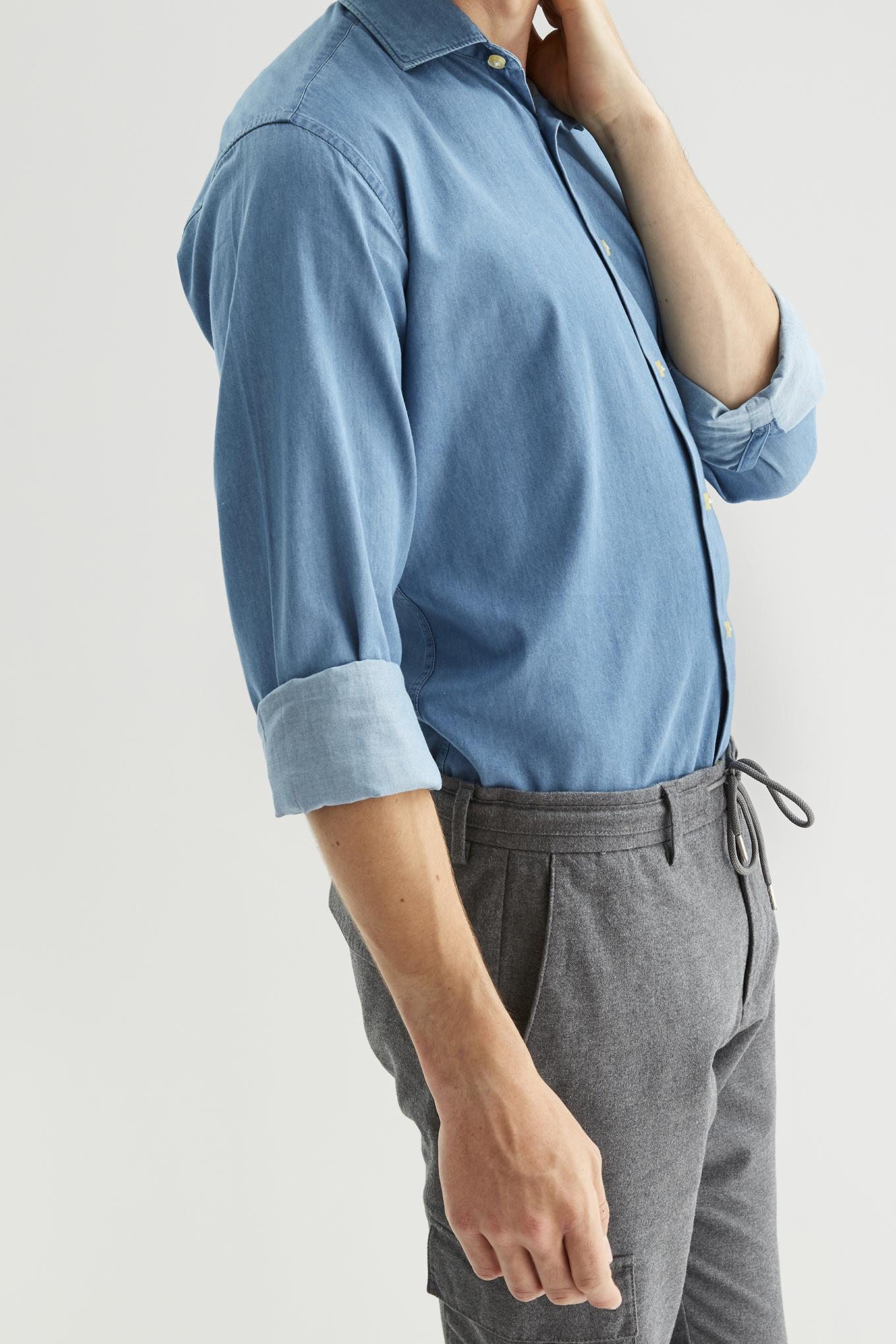 Camisa Azul Médio Casual Homem