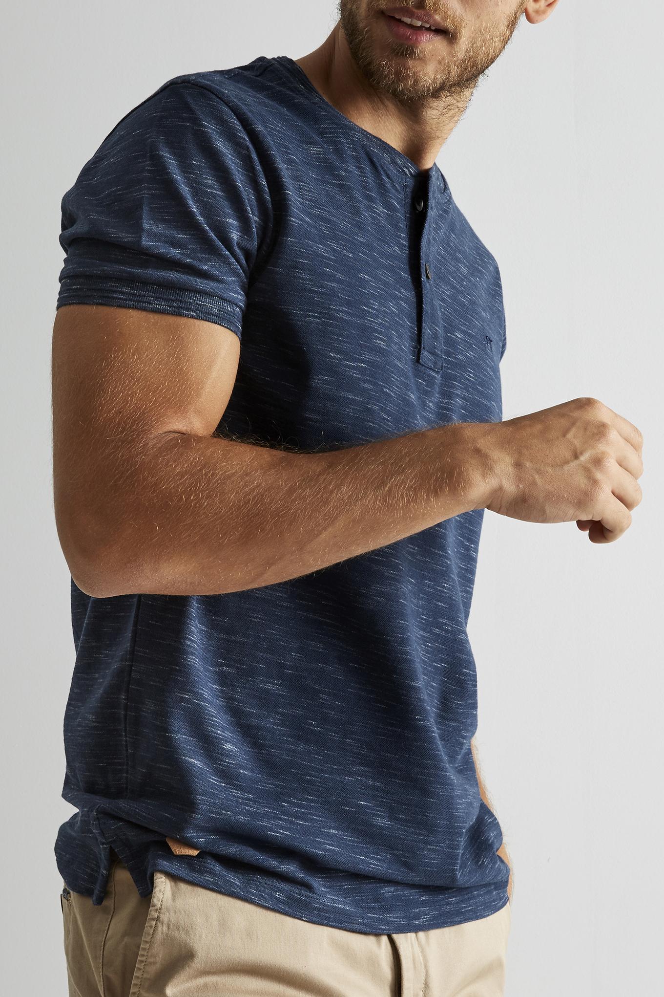 T-Shirt Azul Escuro Casual Homem