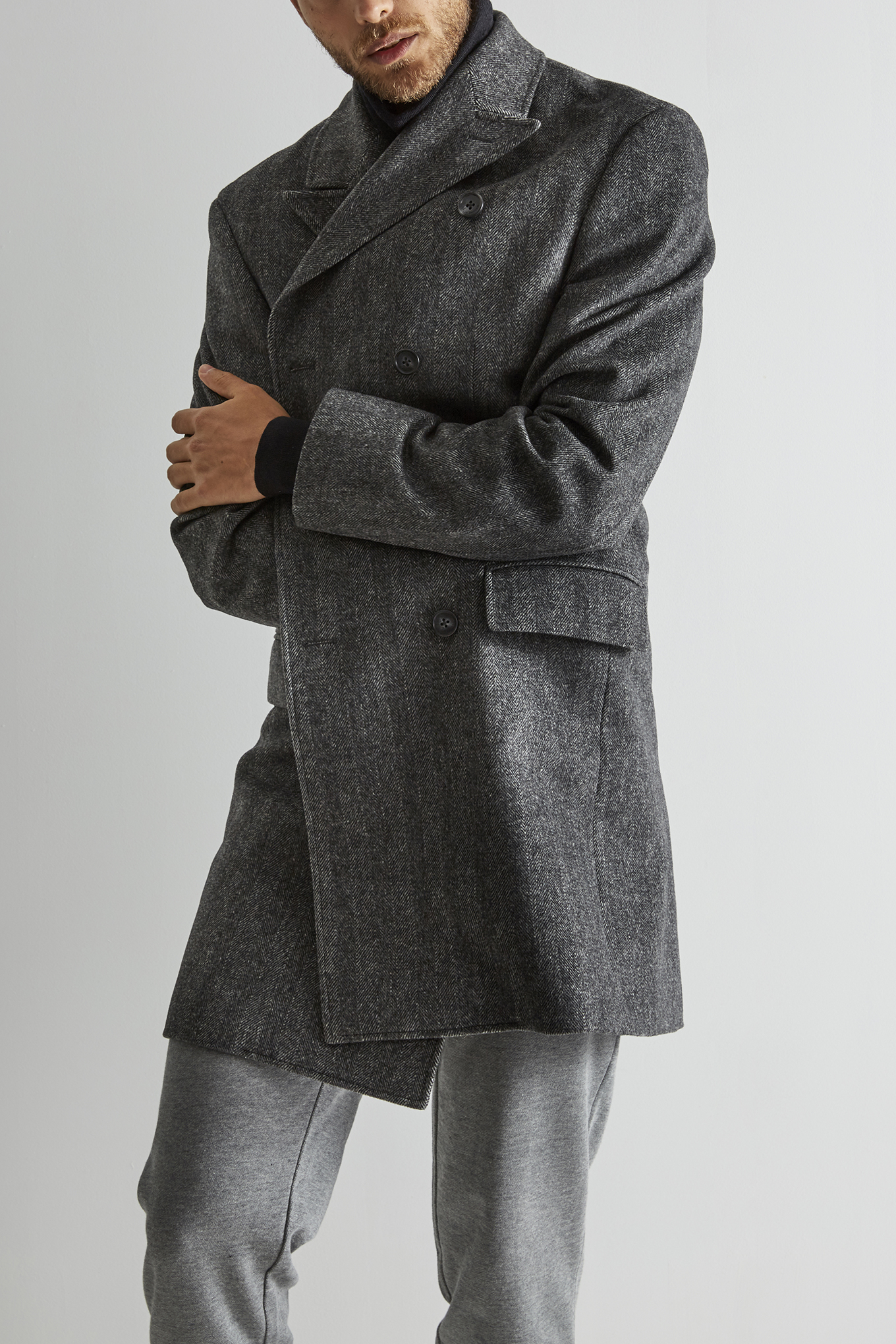 Overcoat Dark Grey Casual Man