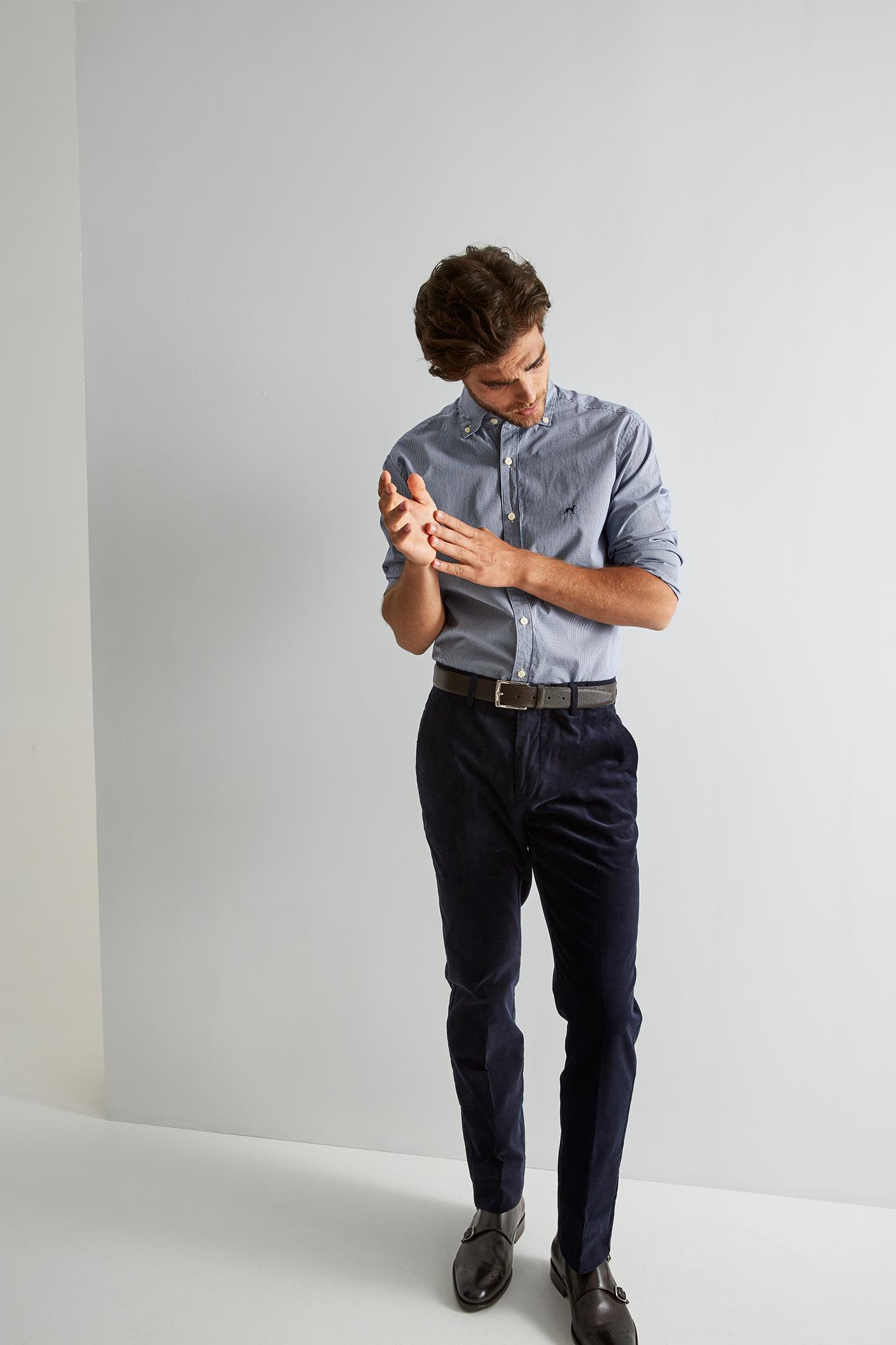 Chino Trousers Dark Blue Casual Man