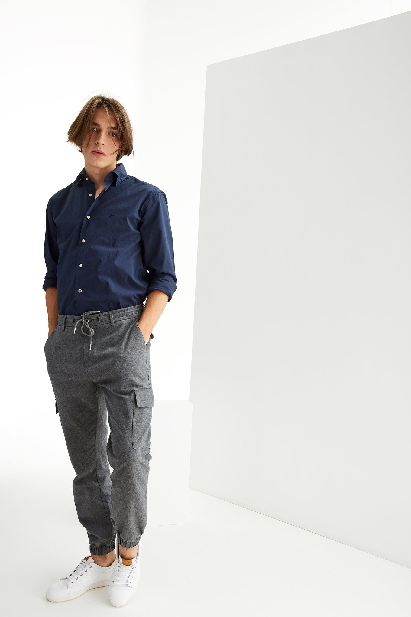 Cargo Trousers Dark Grey Casual Man