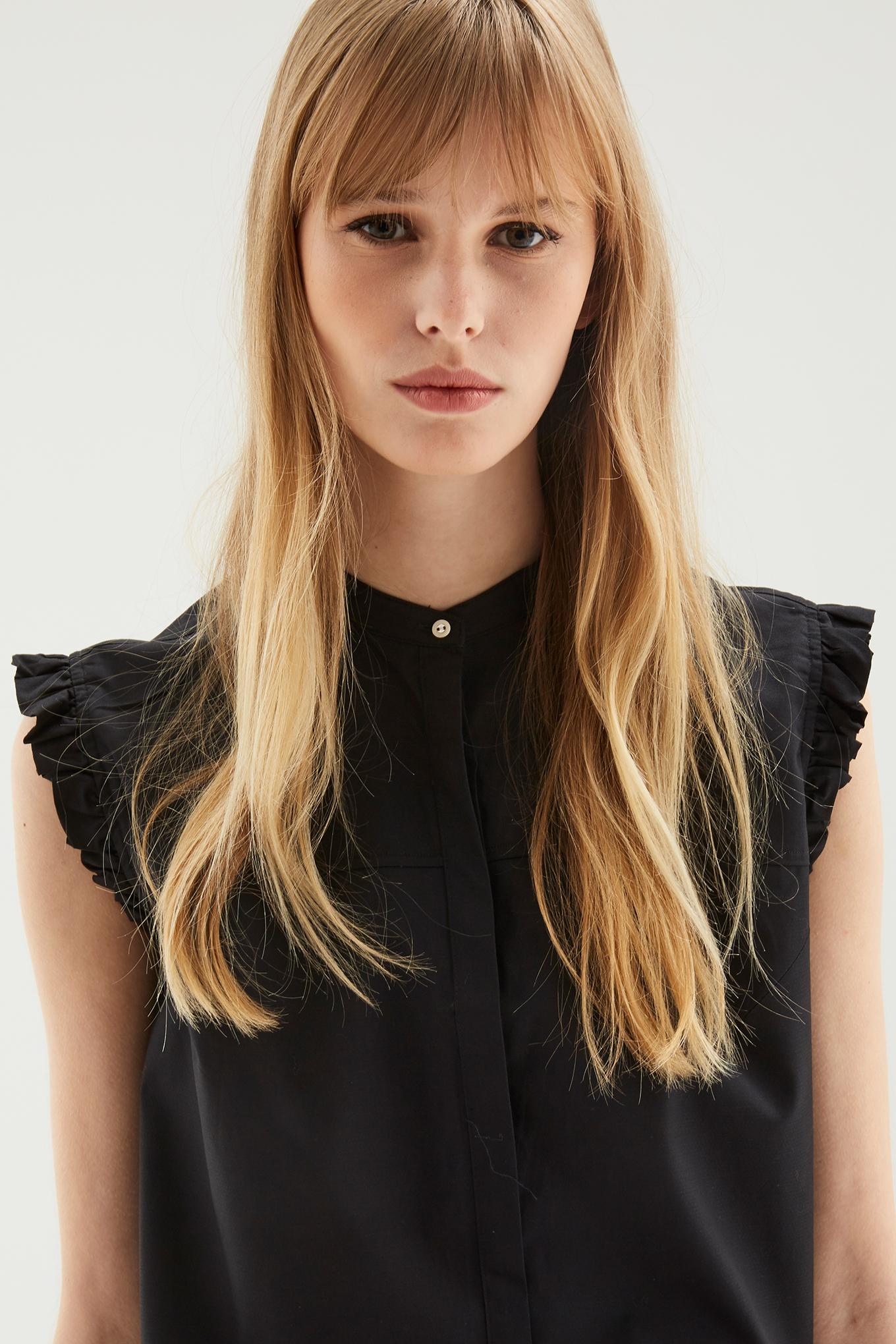 Camisa Preto Casual Mulher