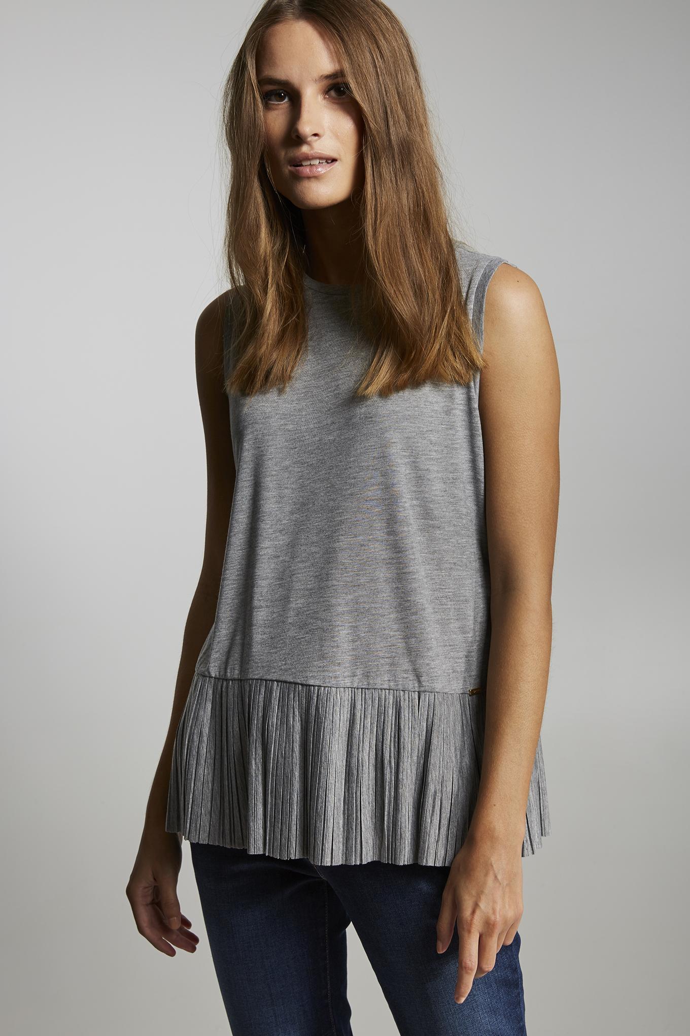 T-Shirt Cinza Mesclado Casual Mulher