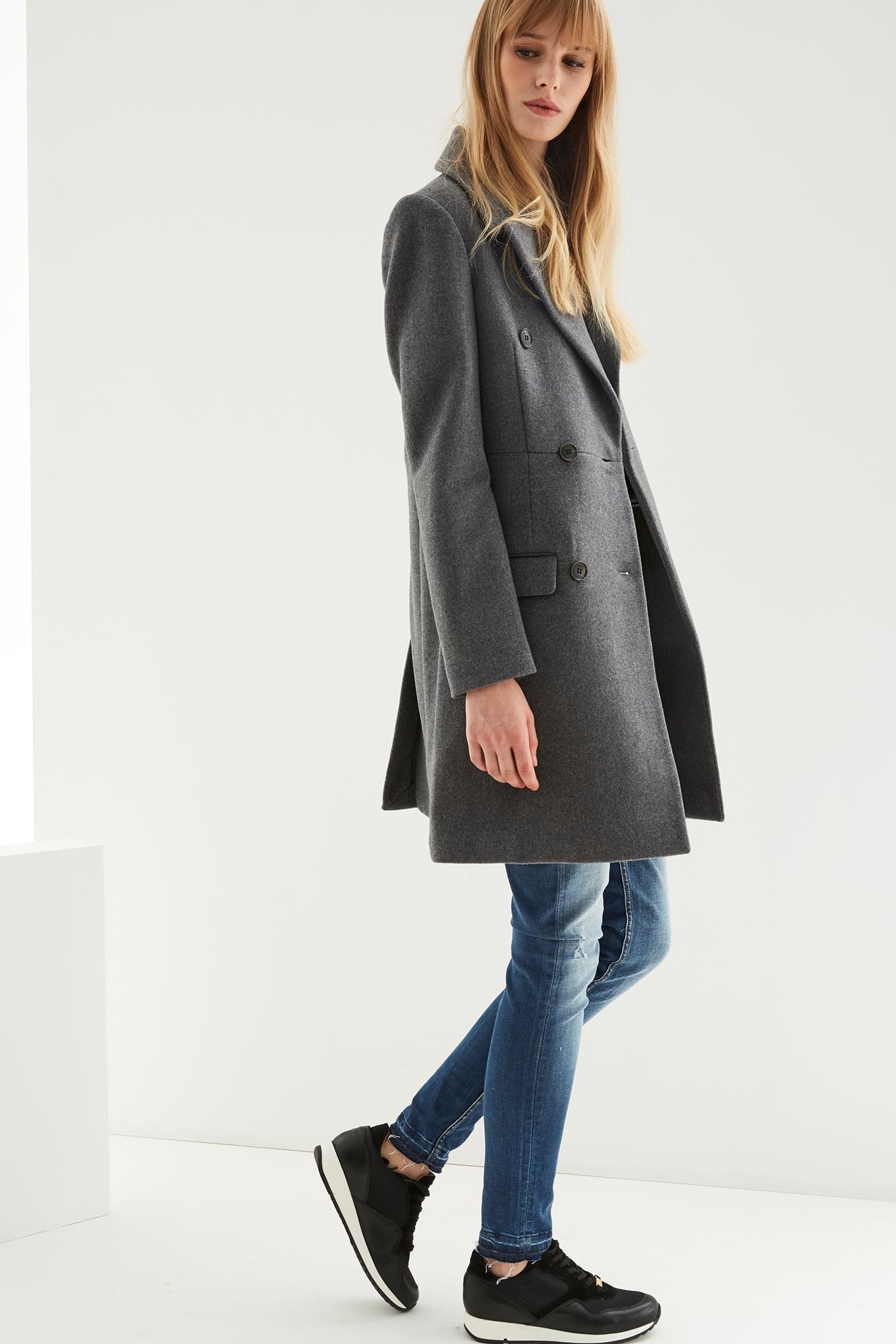 Coat Mix Grey Classic Woman