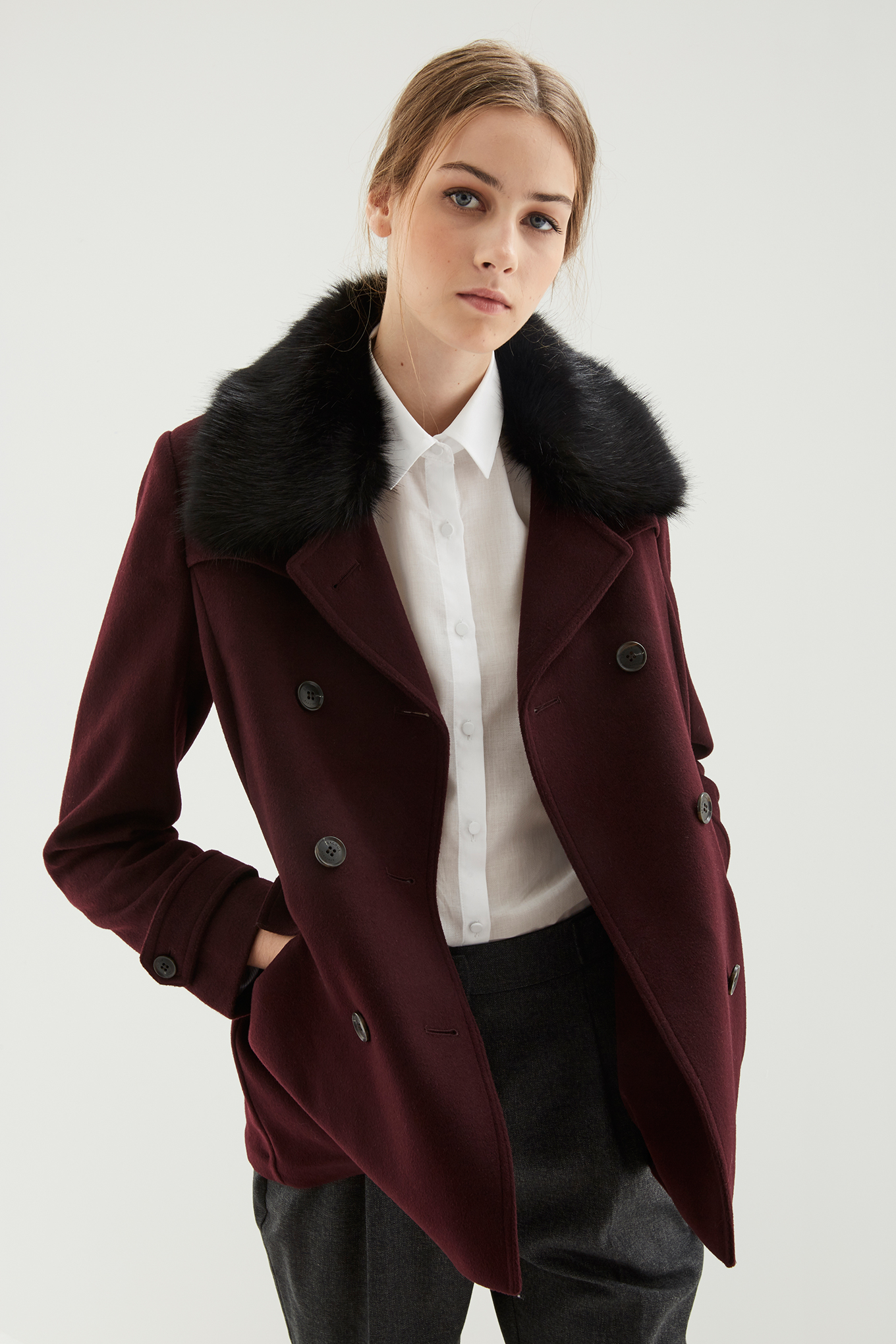 Coat Bordeaux Casual Woman