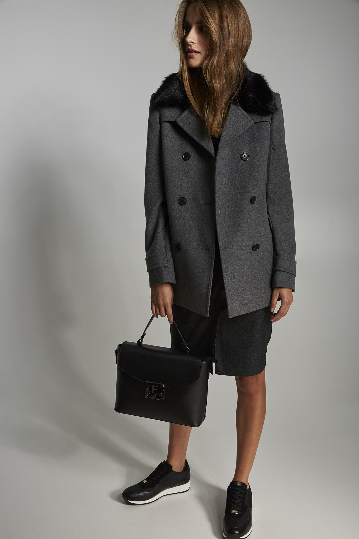 Coat Mix Grey Casual Woman
