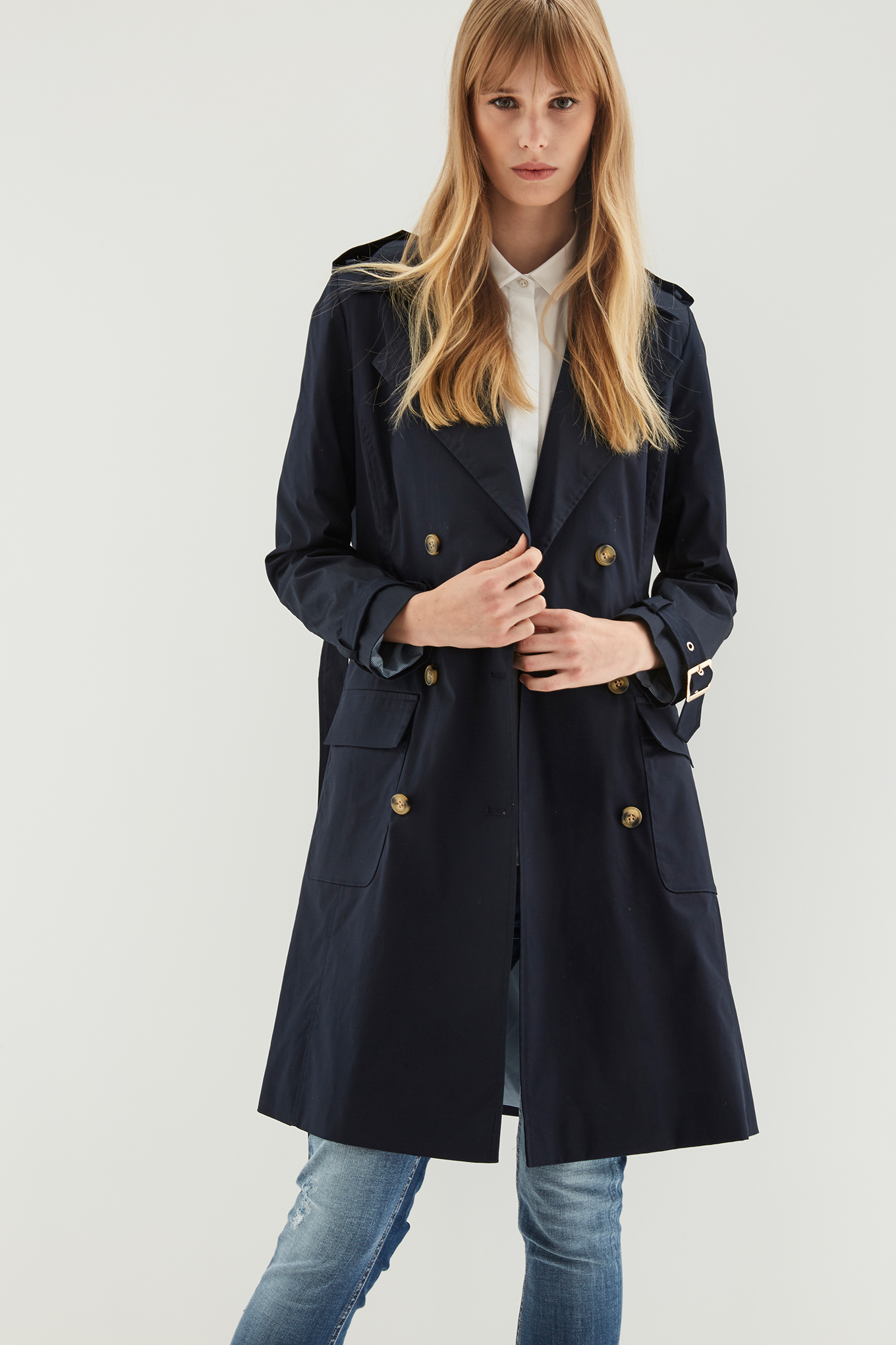 Raincoat Dark Blue Casual Woman