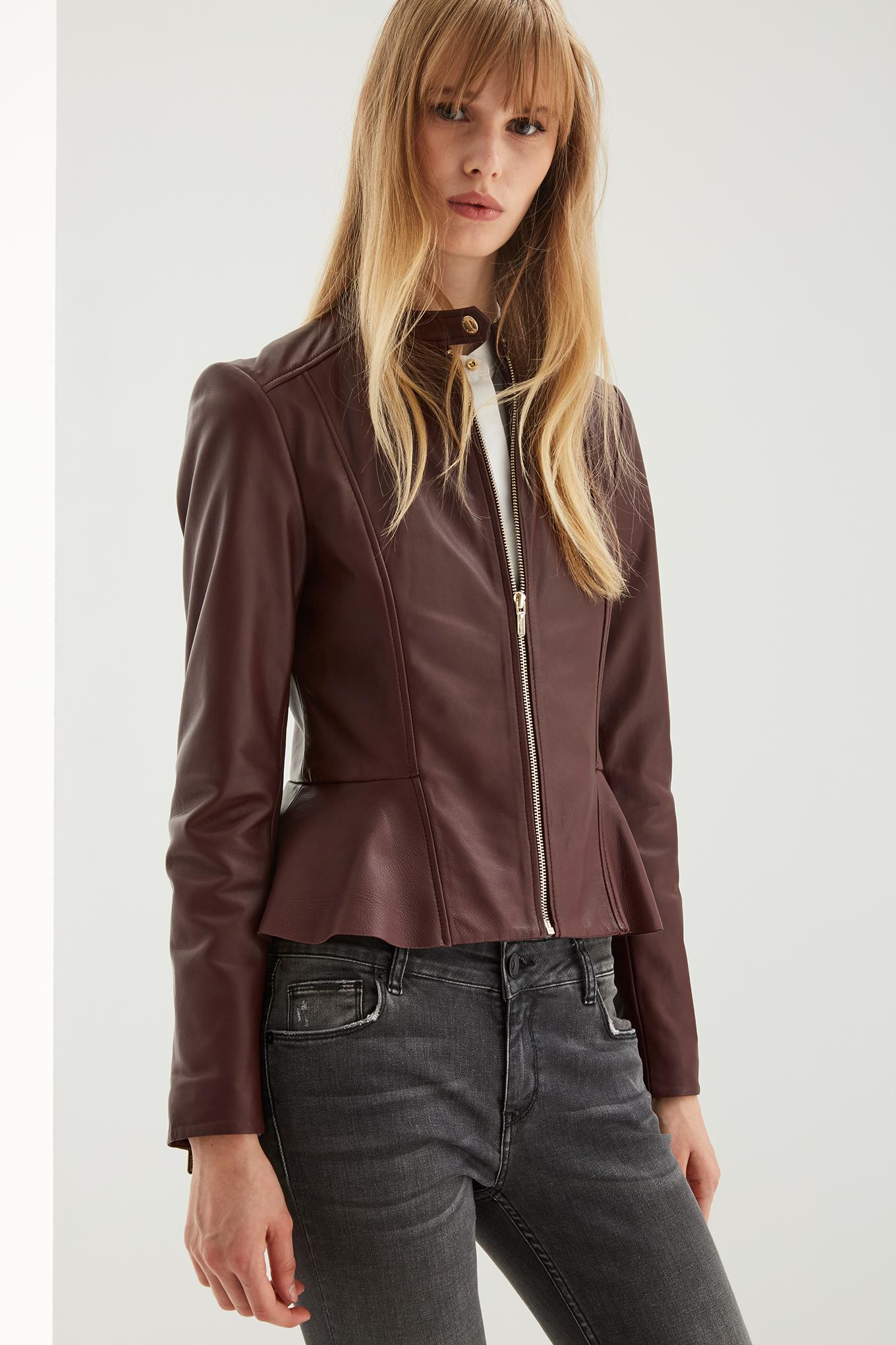 Leather Jacket Bordeaux Casual Woman