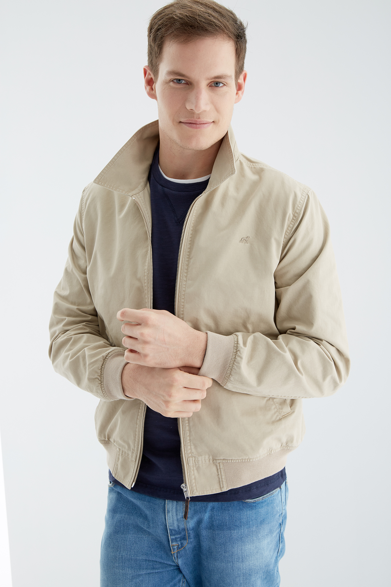 Jacket Beige Casual Man