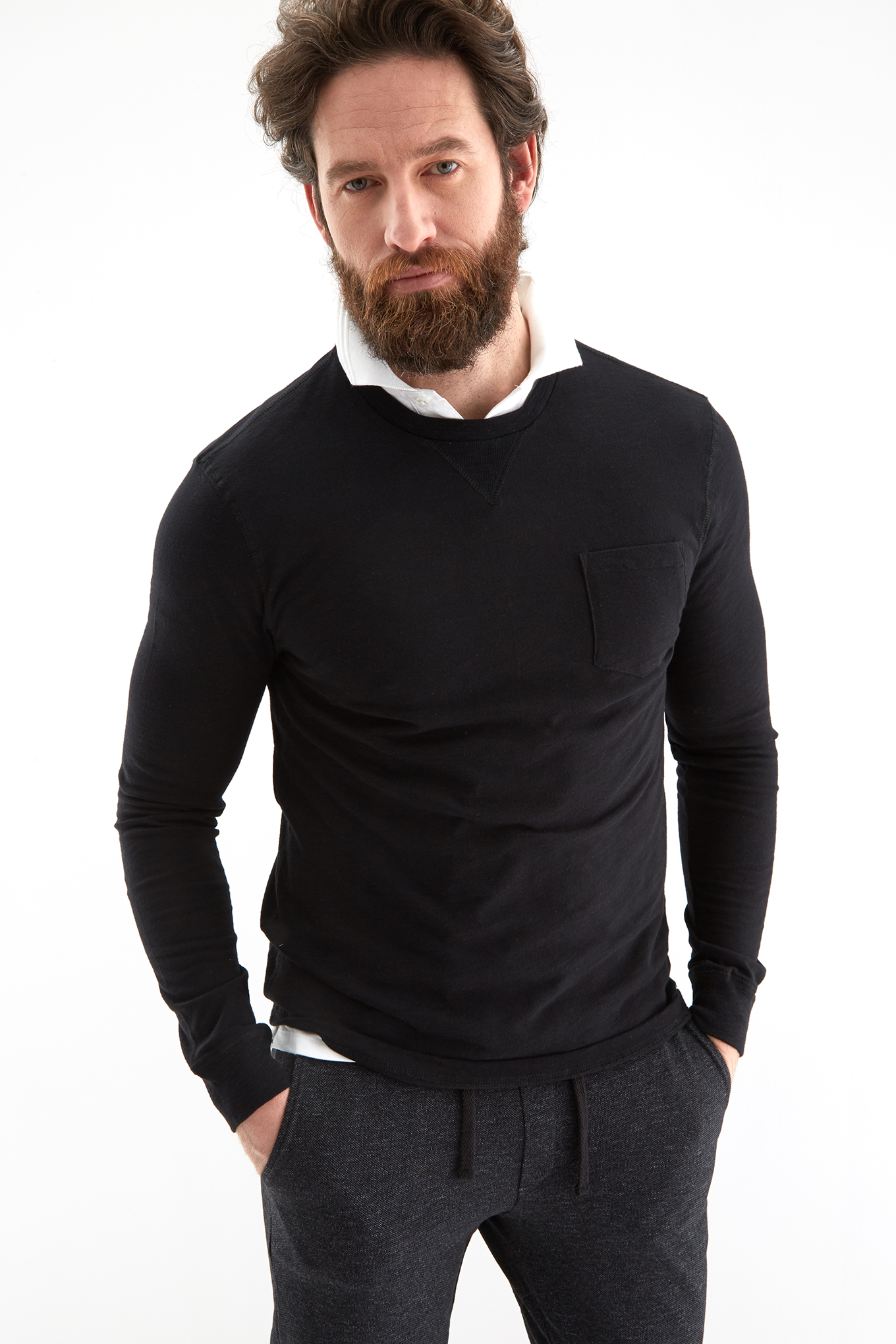 Long Sleeve T-Shirt Black Sport Man