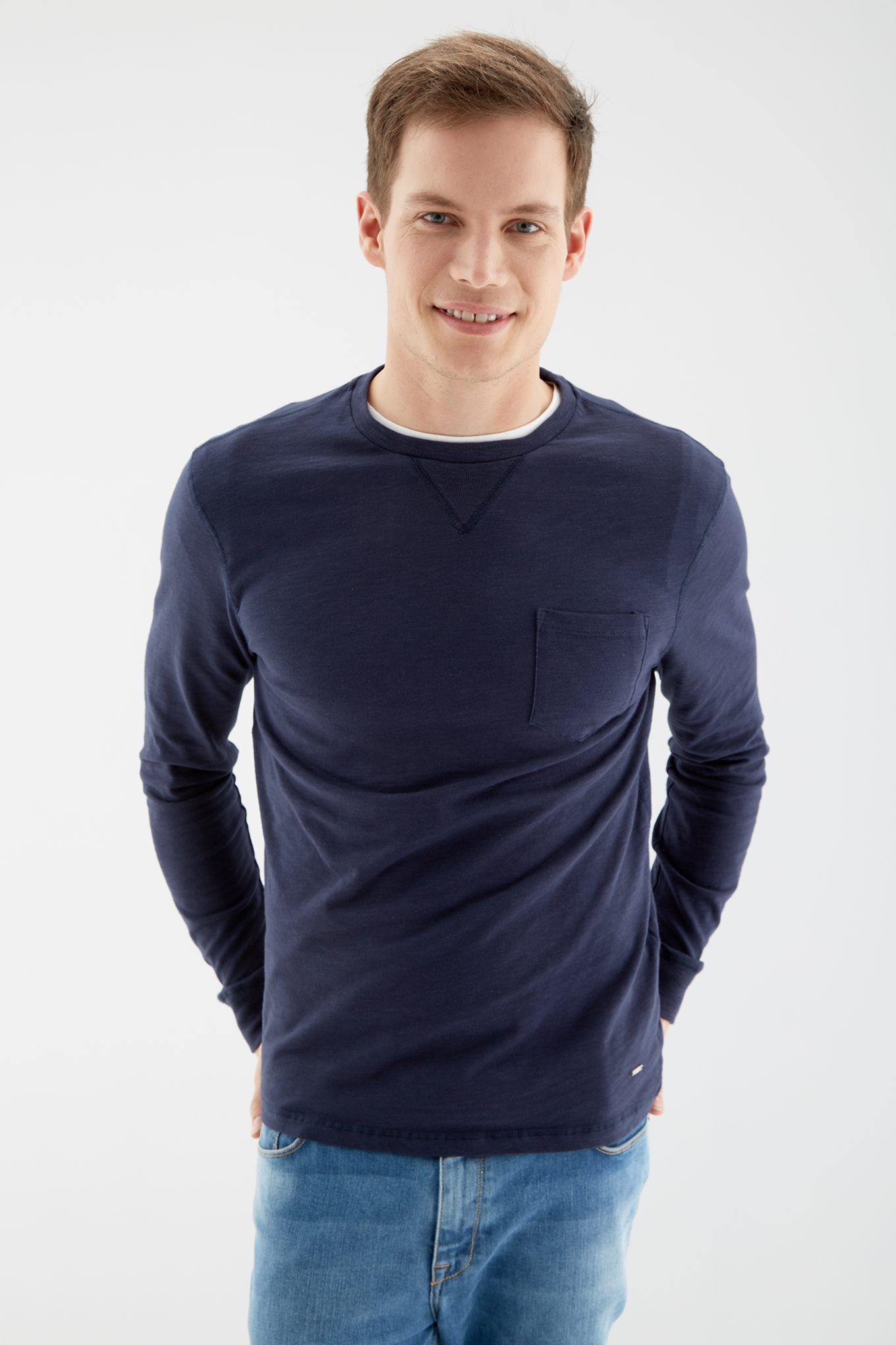 Long Sleeve T-Shirt Dark Blue Sport Man