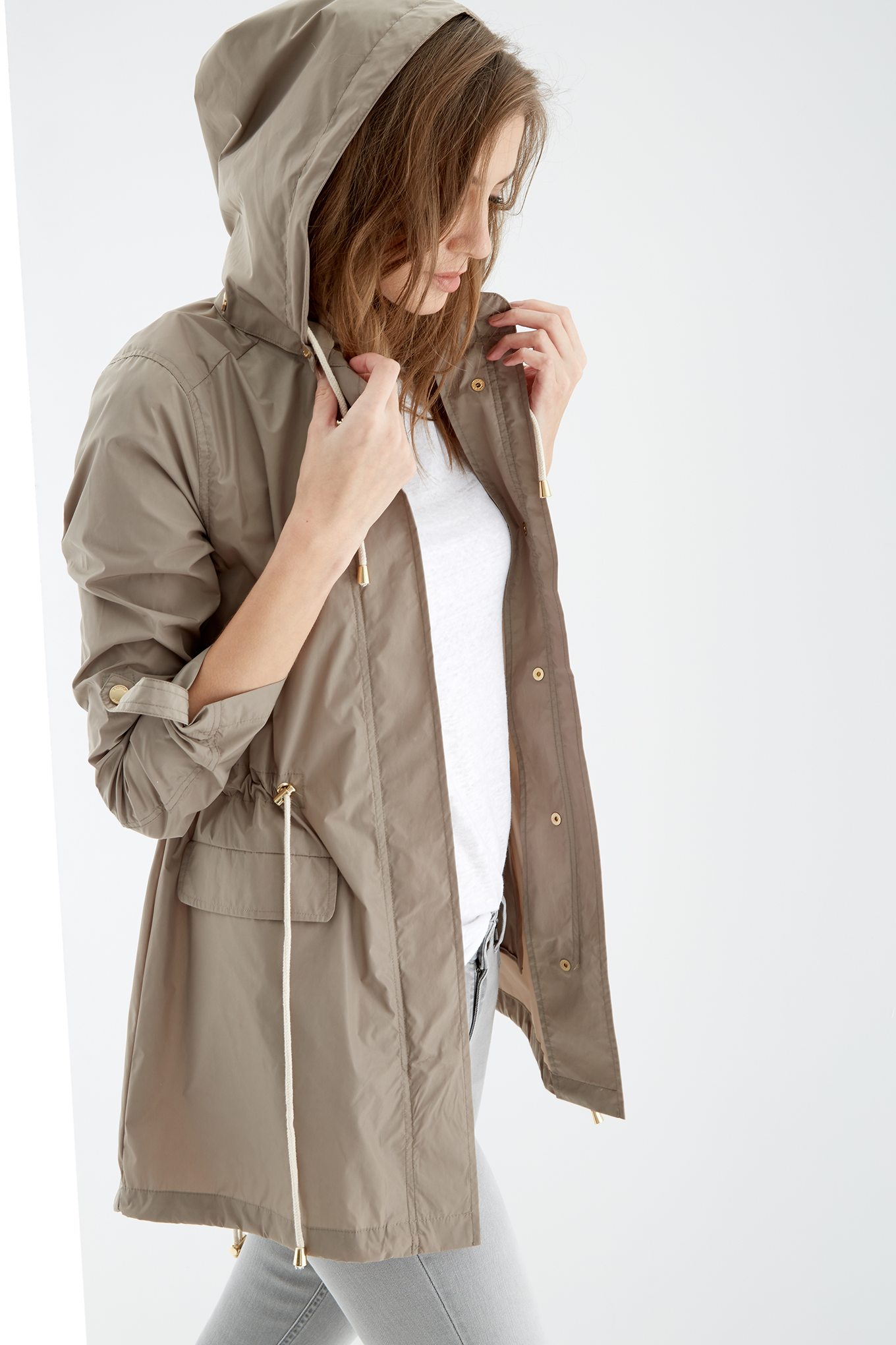 Parka Light Beige Casual Woman