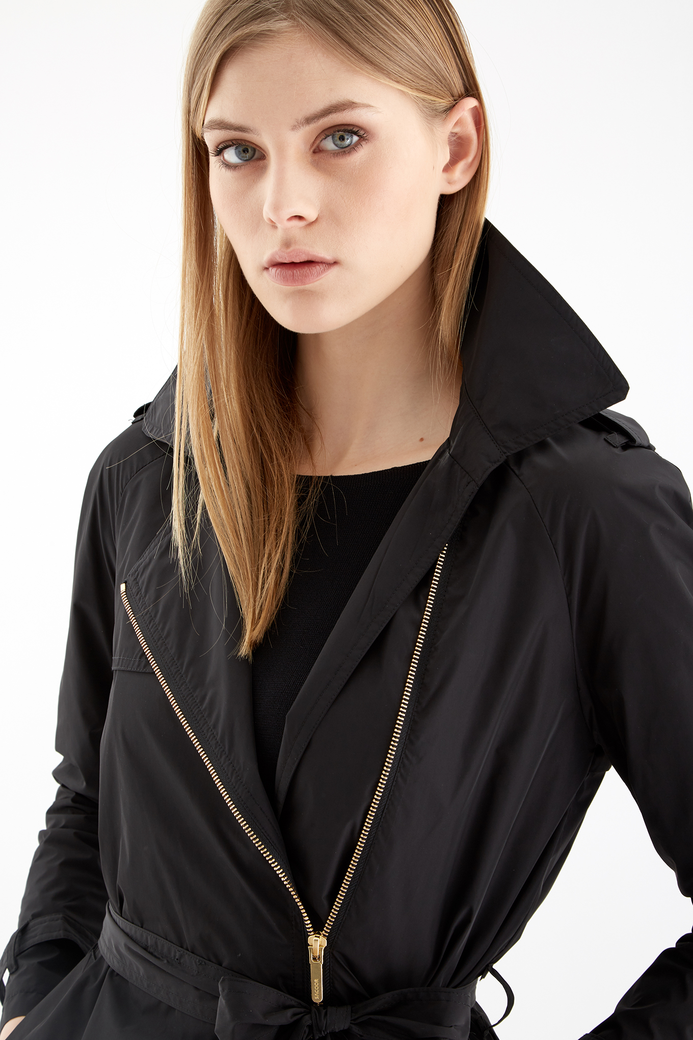 Raincoat Black Casual Woman