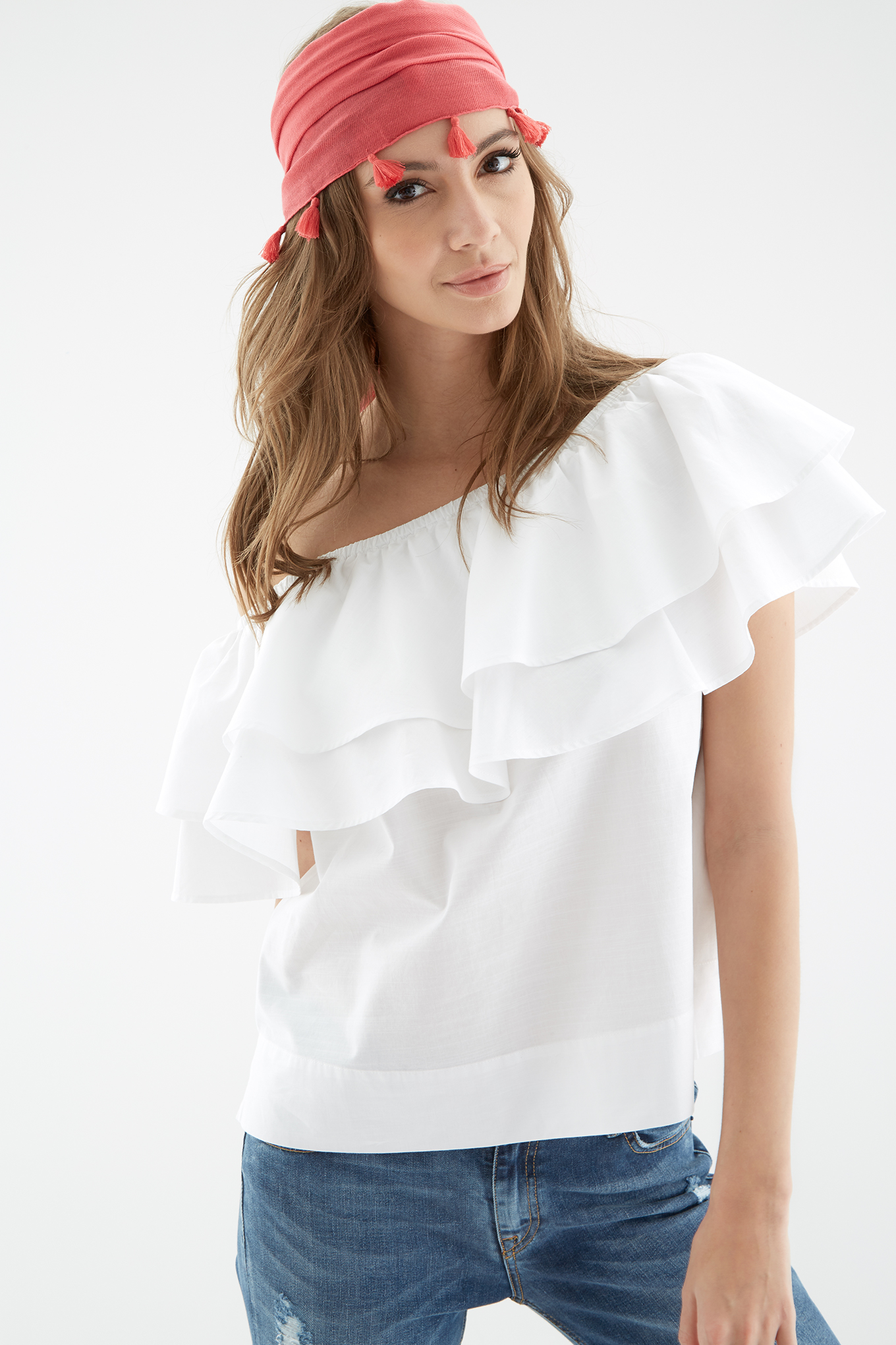 Blouse White Casual Woman