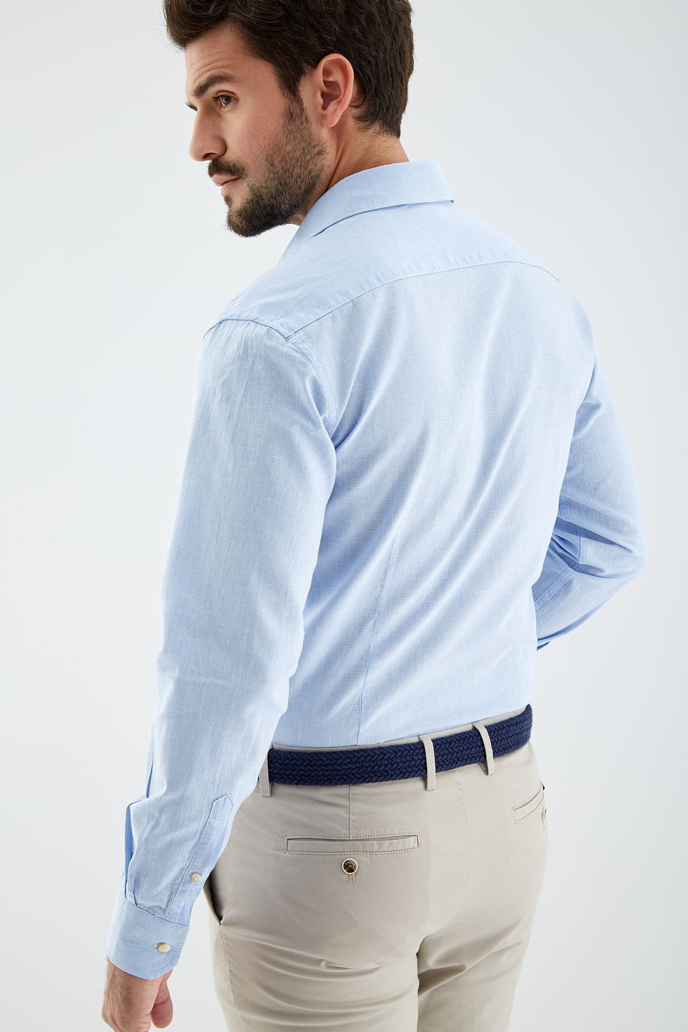 Shirt Light Blue Casual Man