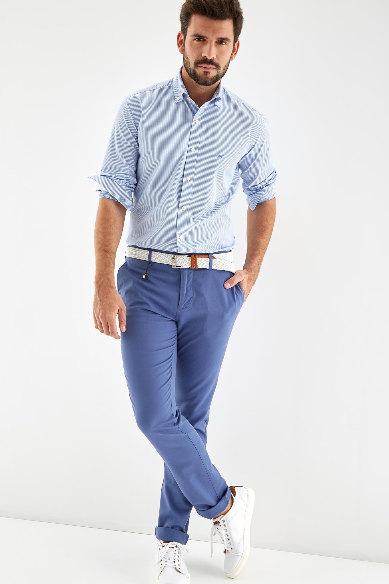 Calças Chino Azul Médio Sport Homem