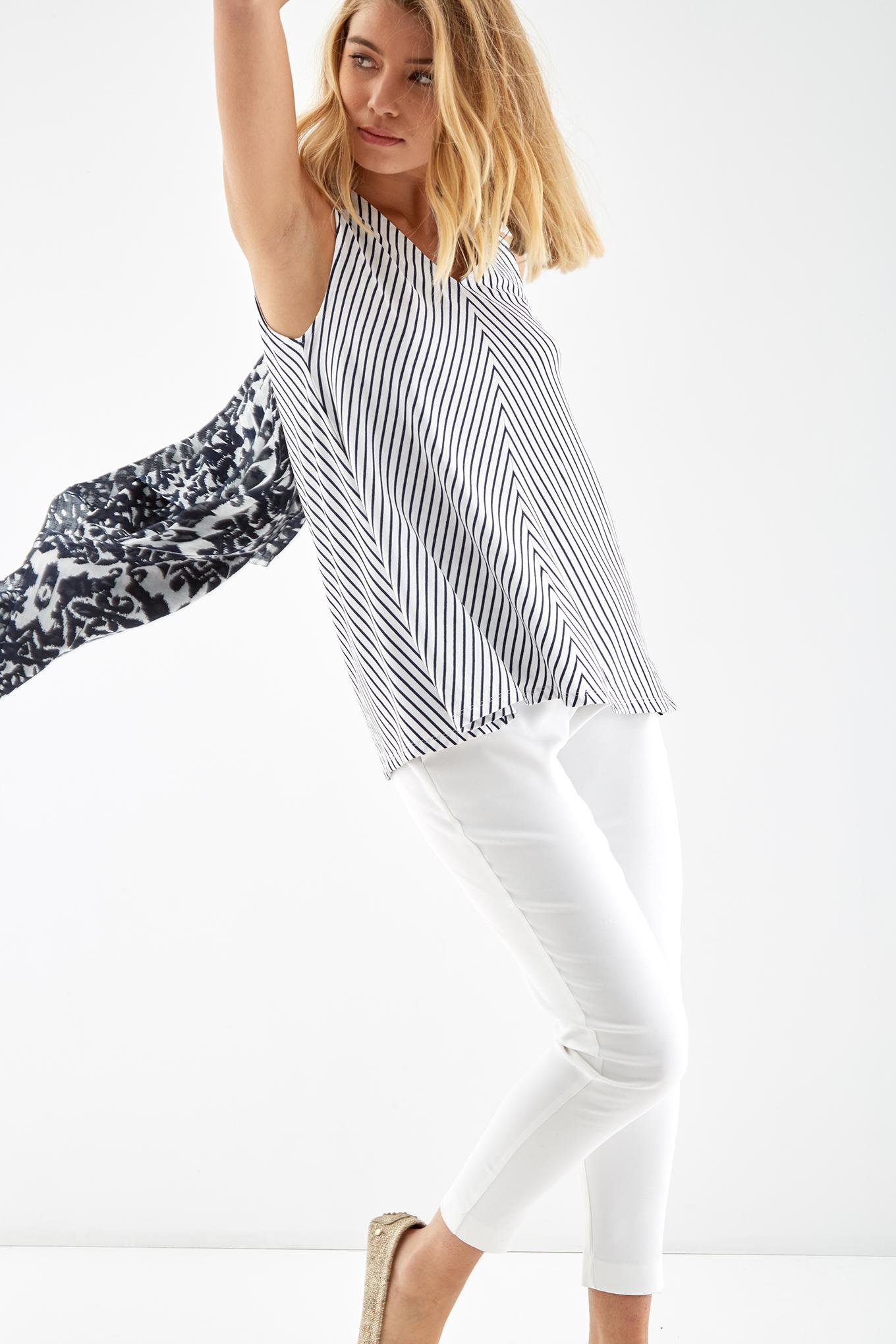 T-Shirt Riscas Casual Mulher