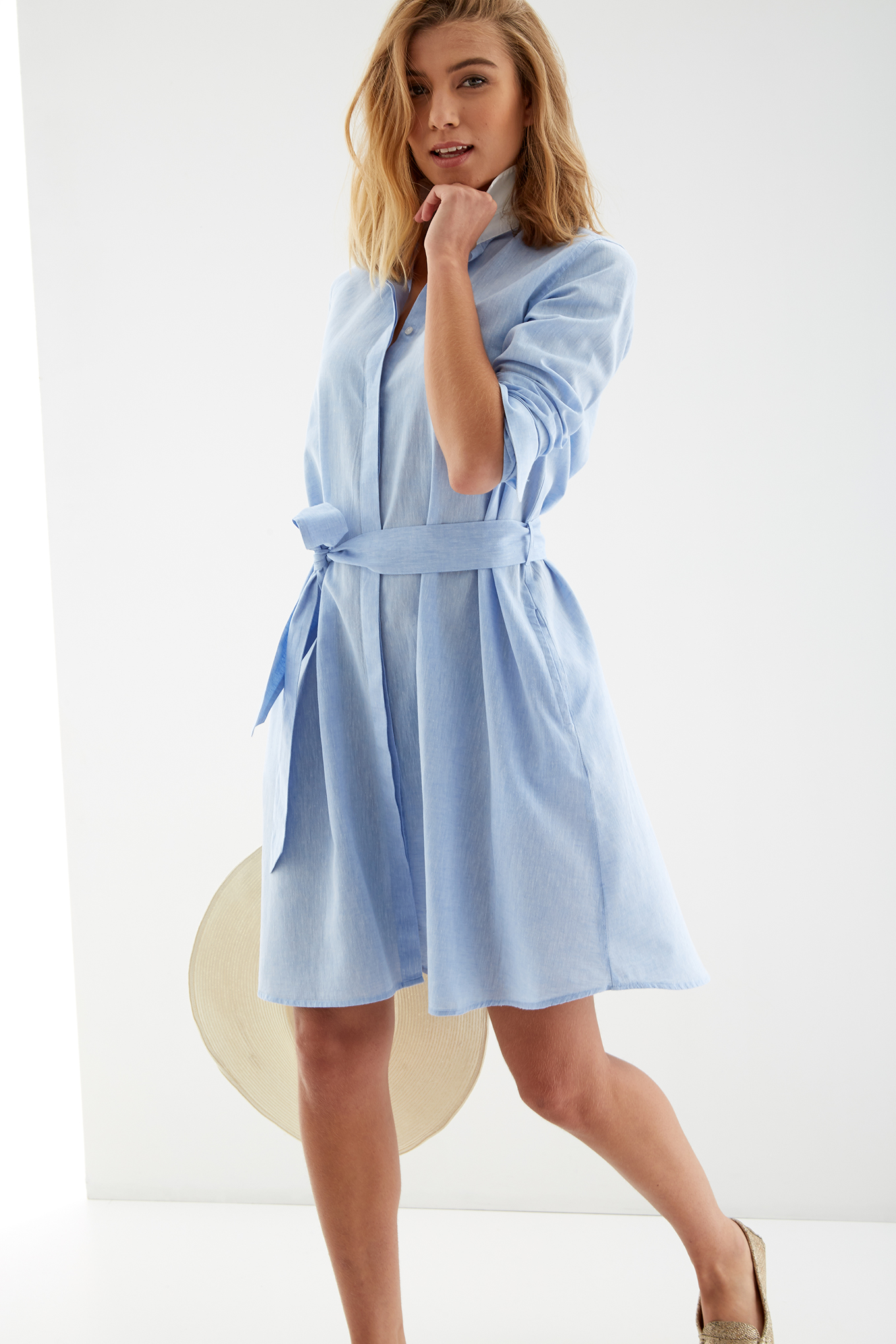 Shirt Dress Light Blue Classic Woman