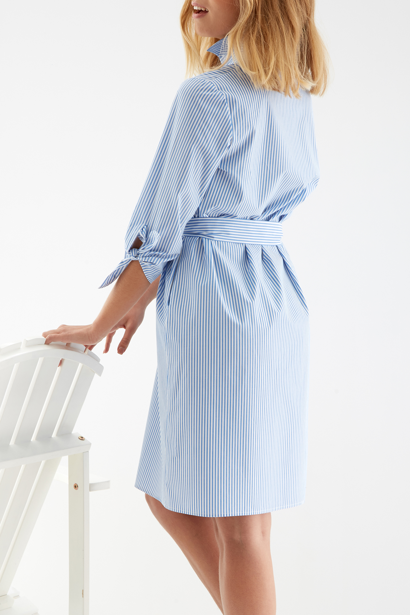 Shirt Dress Stripes Classic Woman