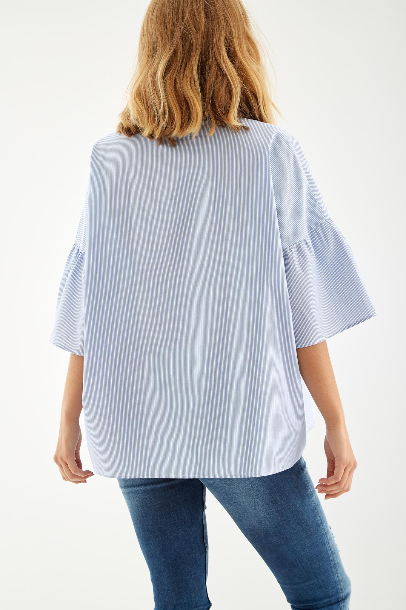 Blusa Azul Casual Mulher