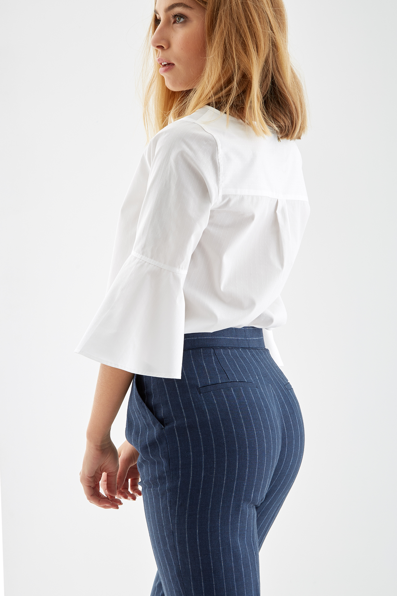 Blusa Branco Casual Mulher