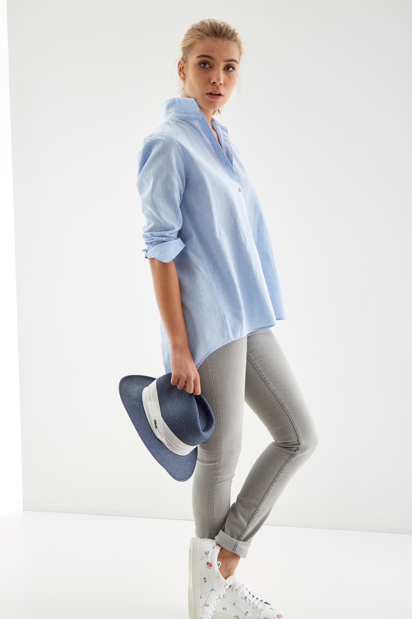 Blouse Light Blue Casual Woman