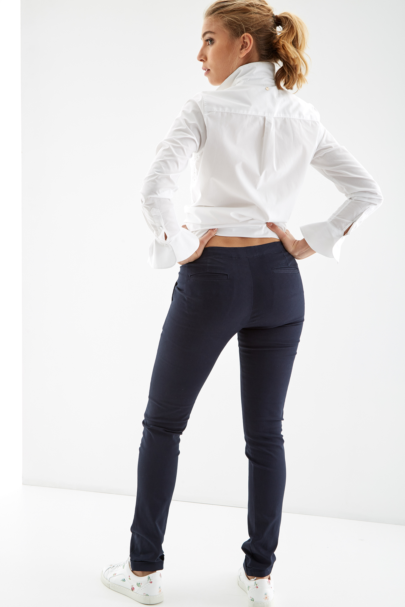 Chino Trousers Dark Blue Casual Woman