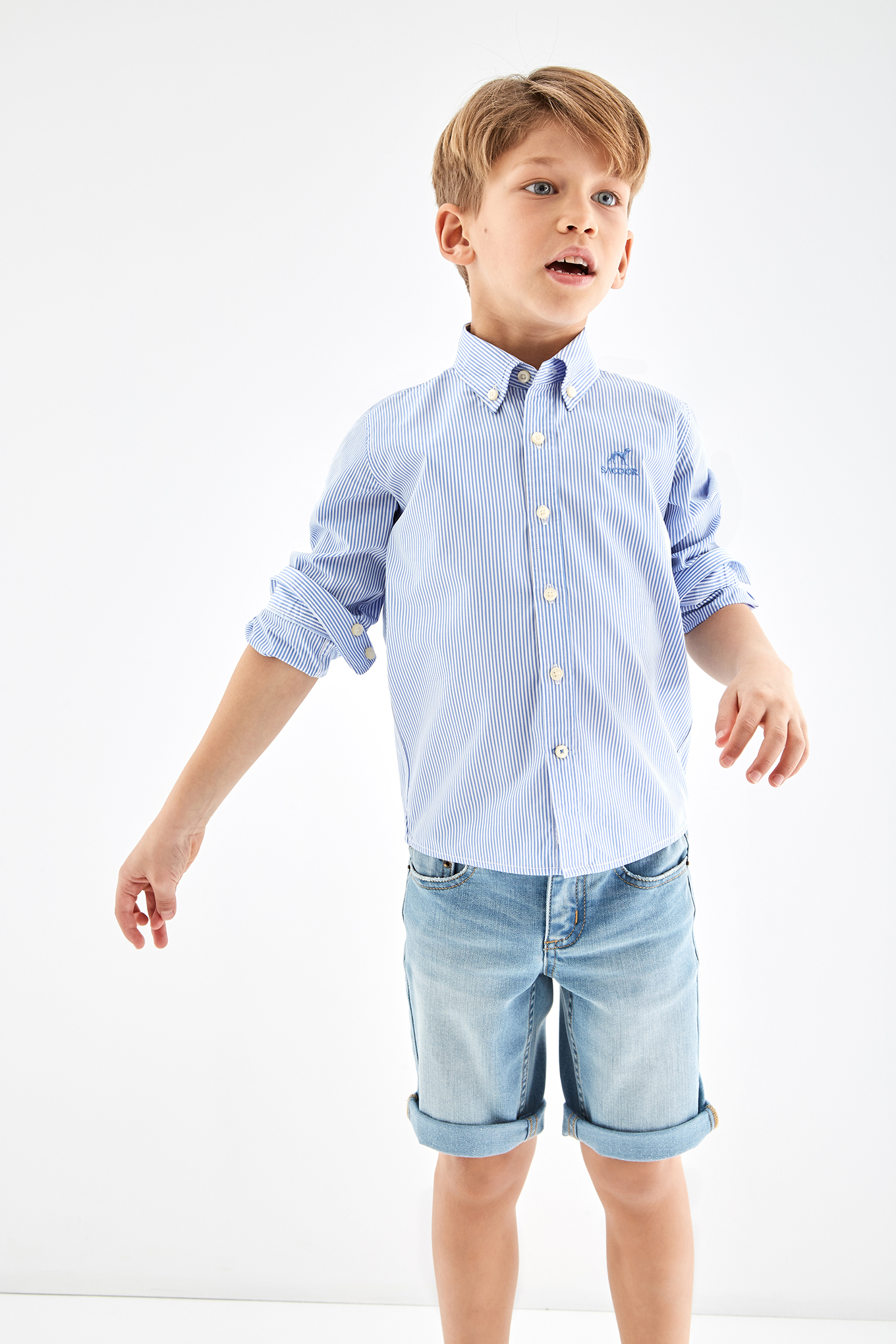 Shirt Light Blue Casual Boy