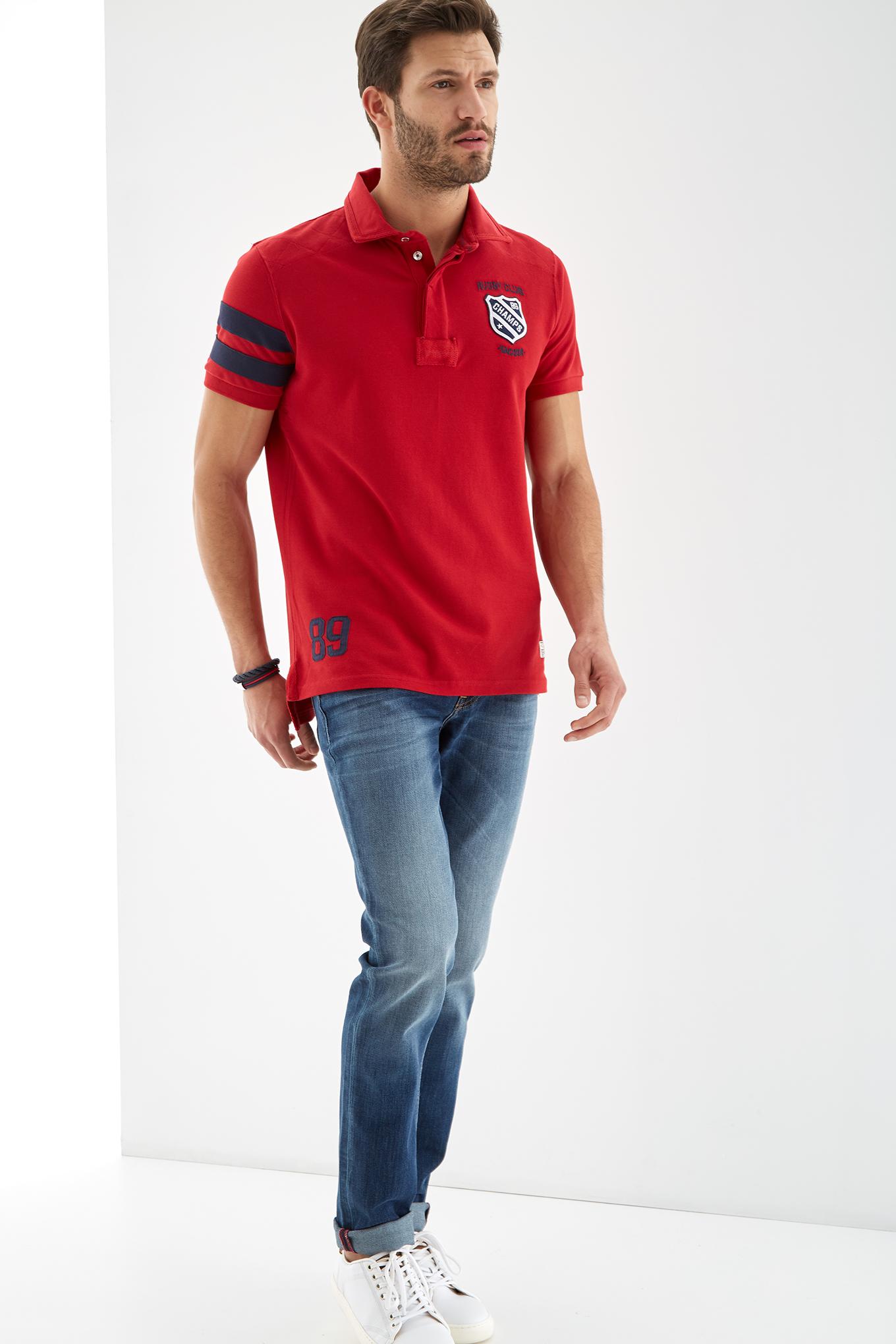 Polo Piquet Vermelho Sport Homem