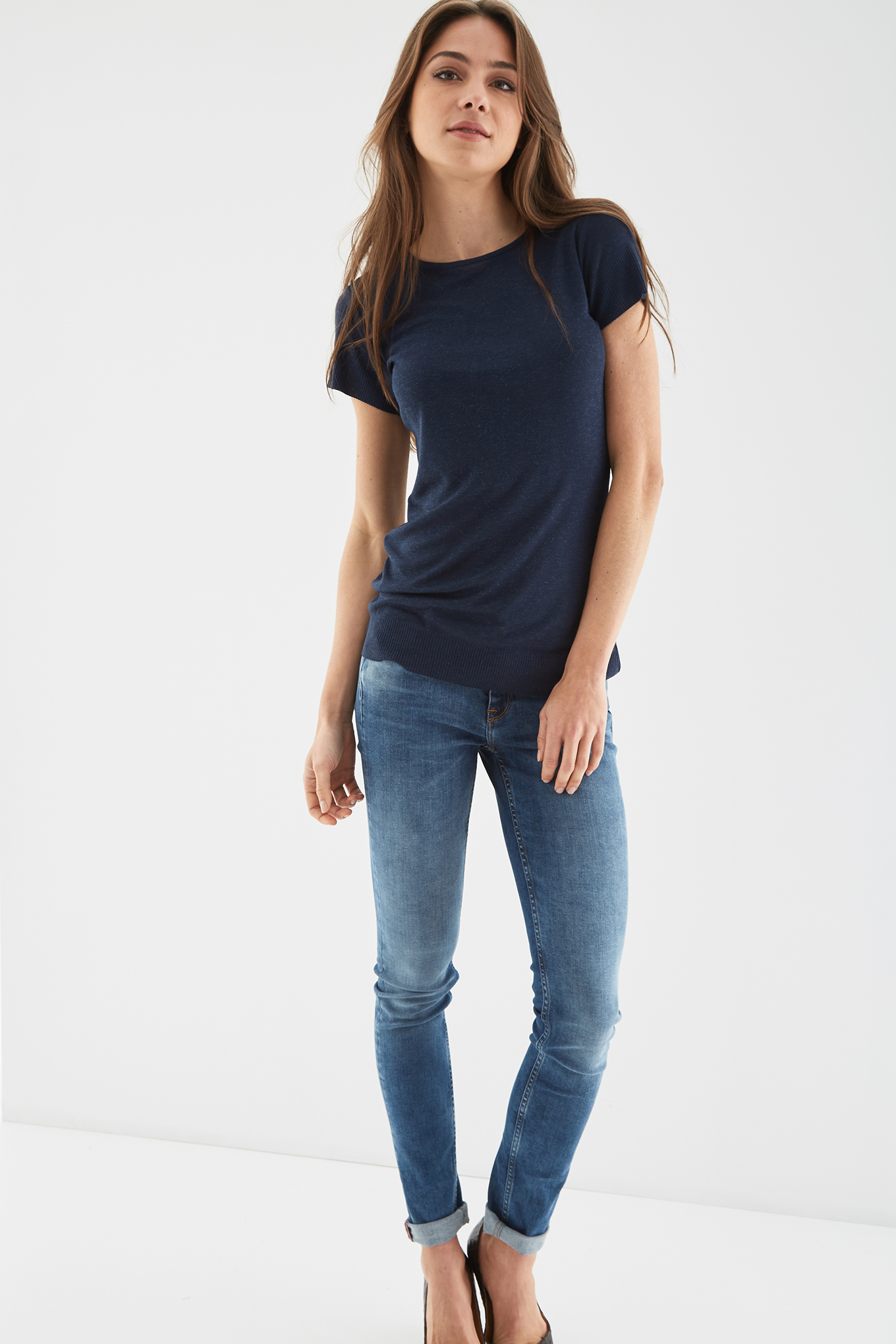 T-Shirt Azul Escuro Casual Mulher