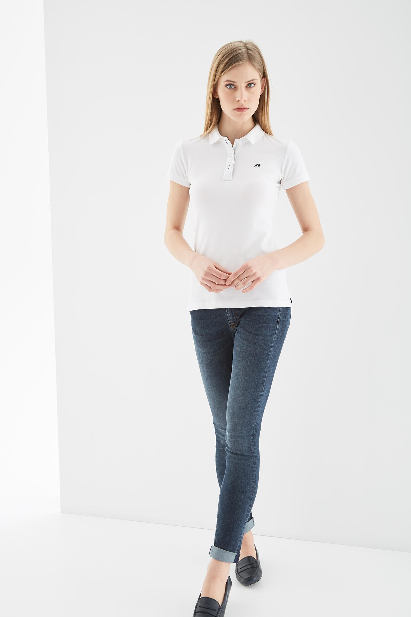 Polo Piquet Branco Sport Mulher