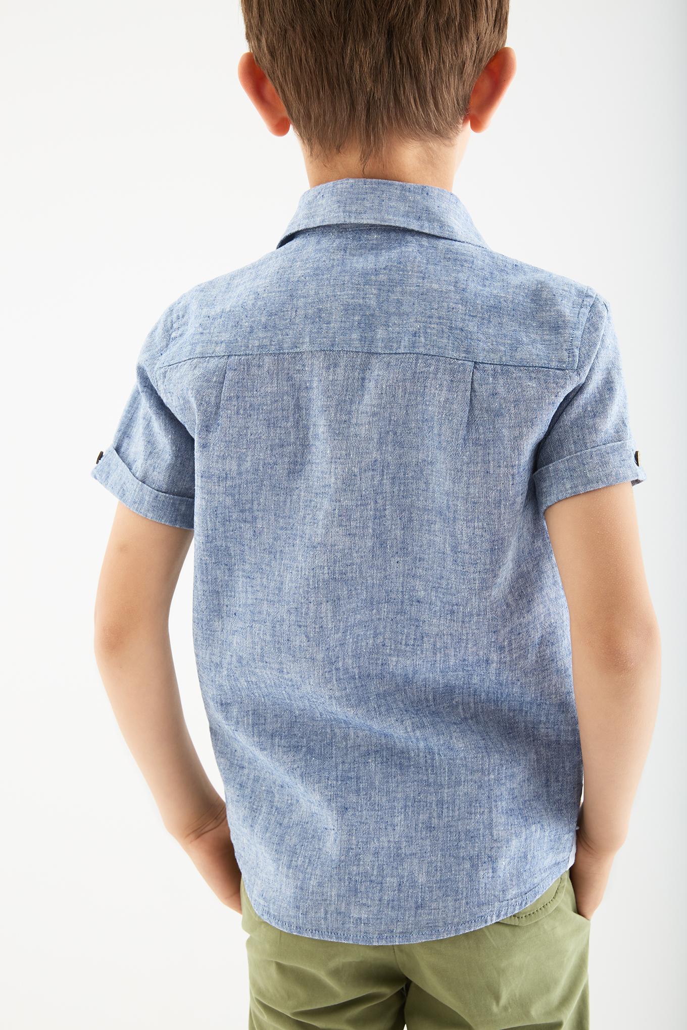 Camisa Azul Escuro Casual Rapaz