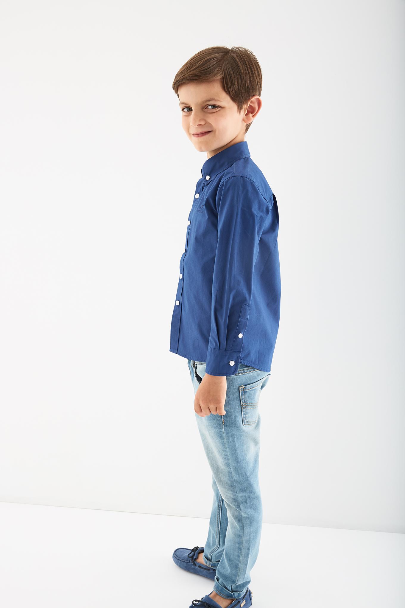 Camisa Azul Casual Rapaz