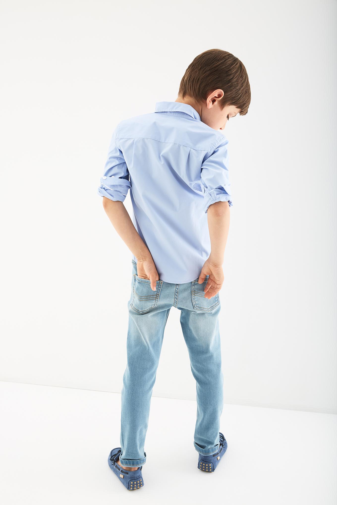 Camisa Azul Médio Casual Rapaz