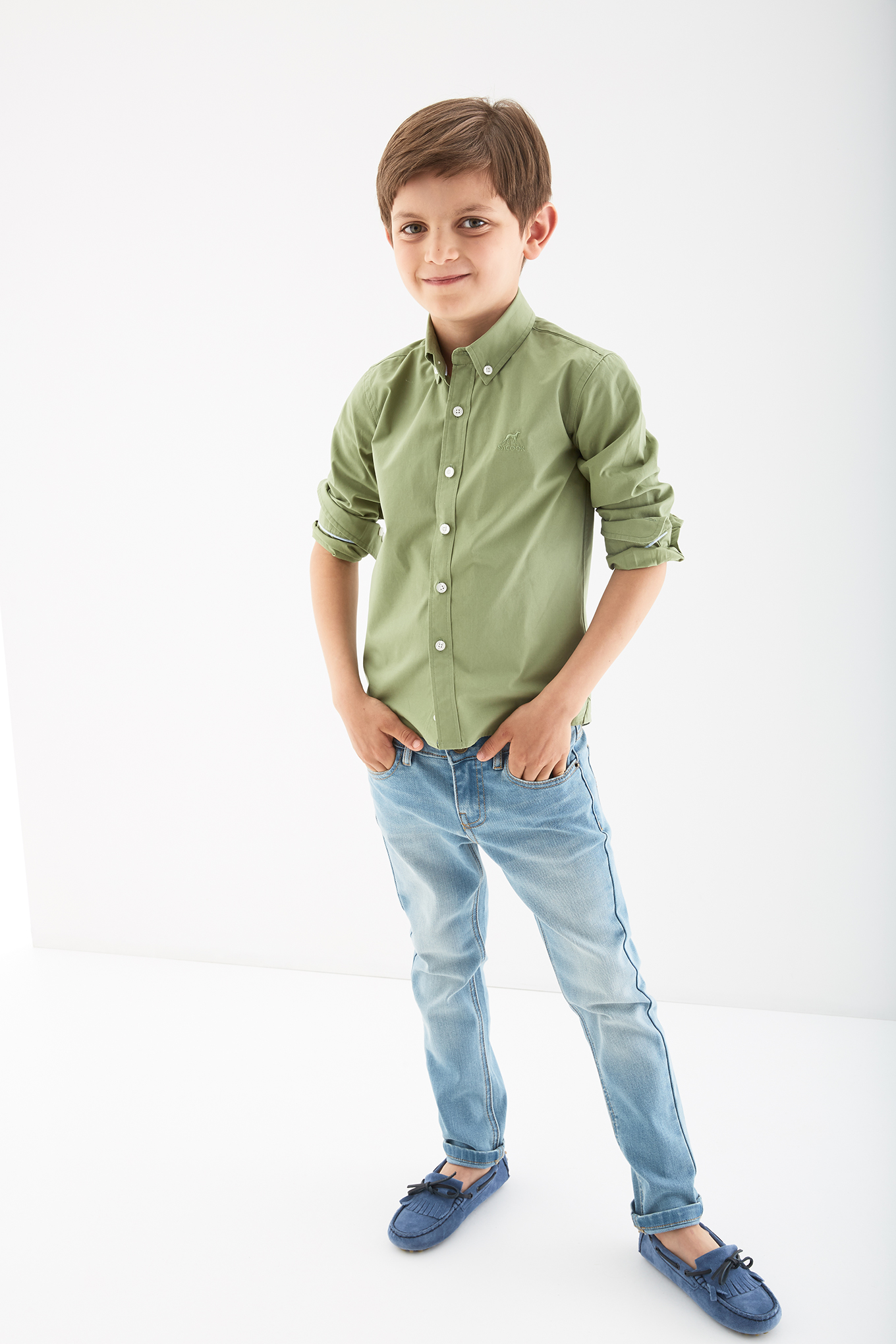 Camisa Verde Claro Casual Rapaz