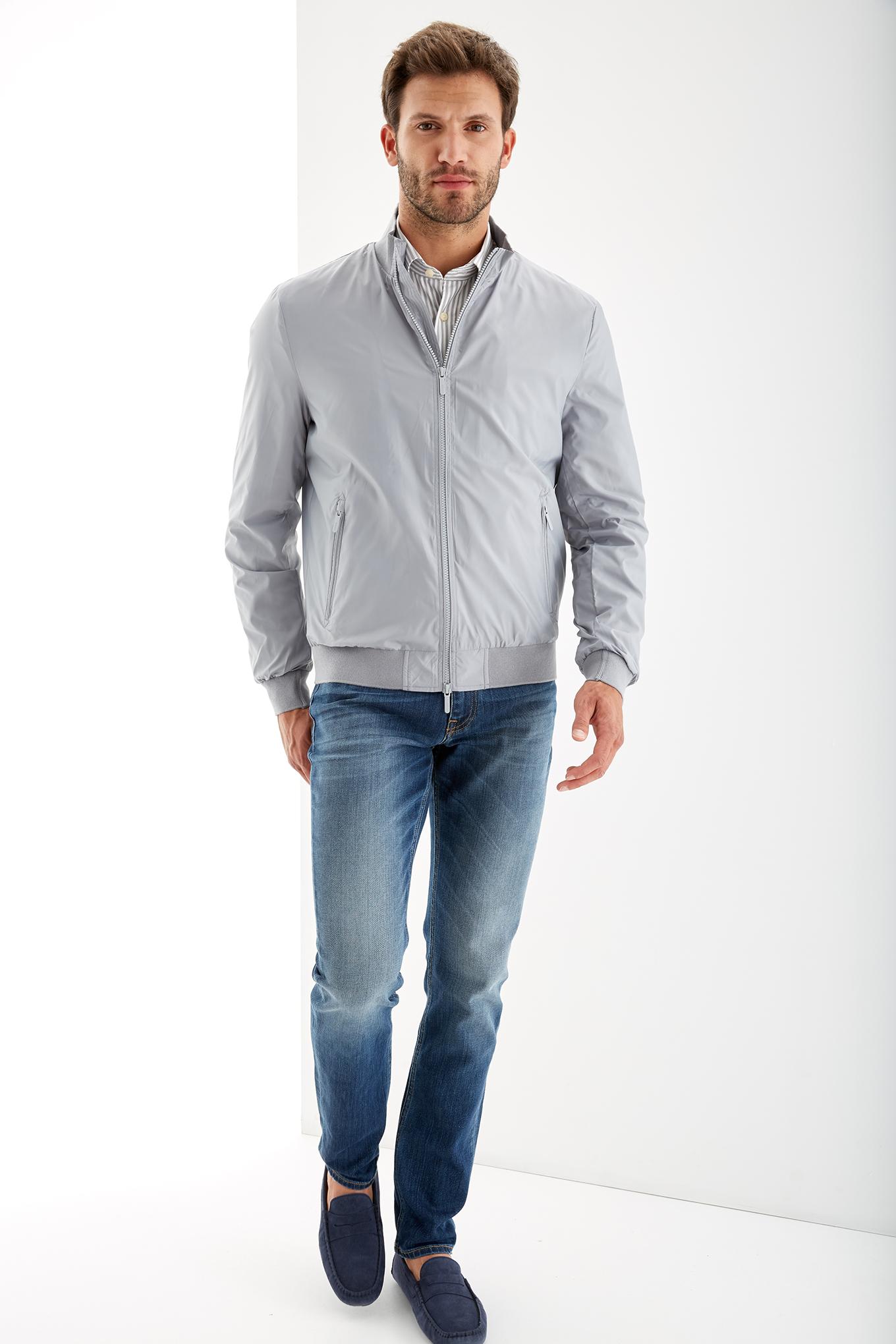 Blusão Cinza Claro Casual Homem
