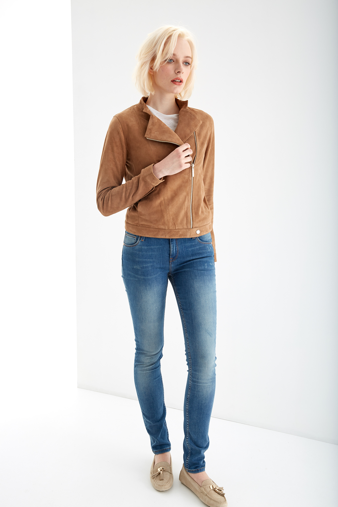 Leather Jacket Camel Casual Woman