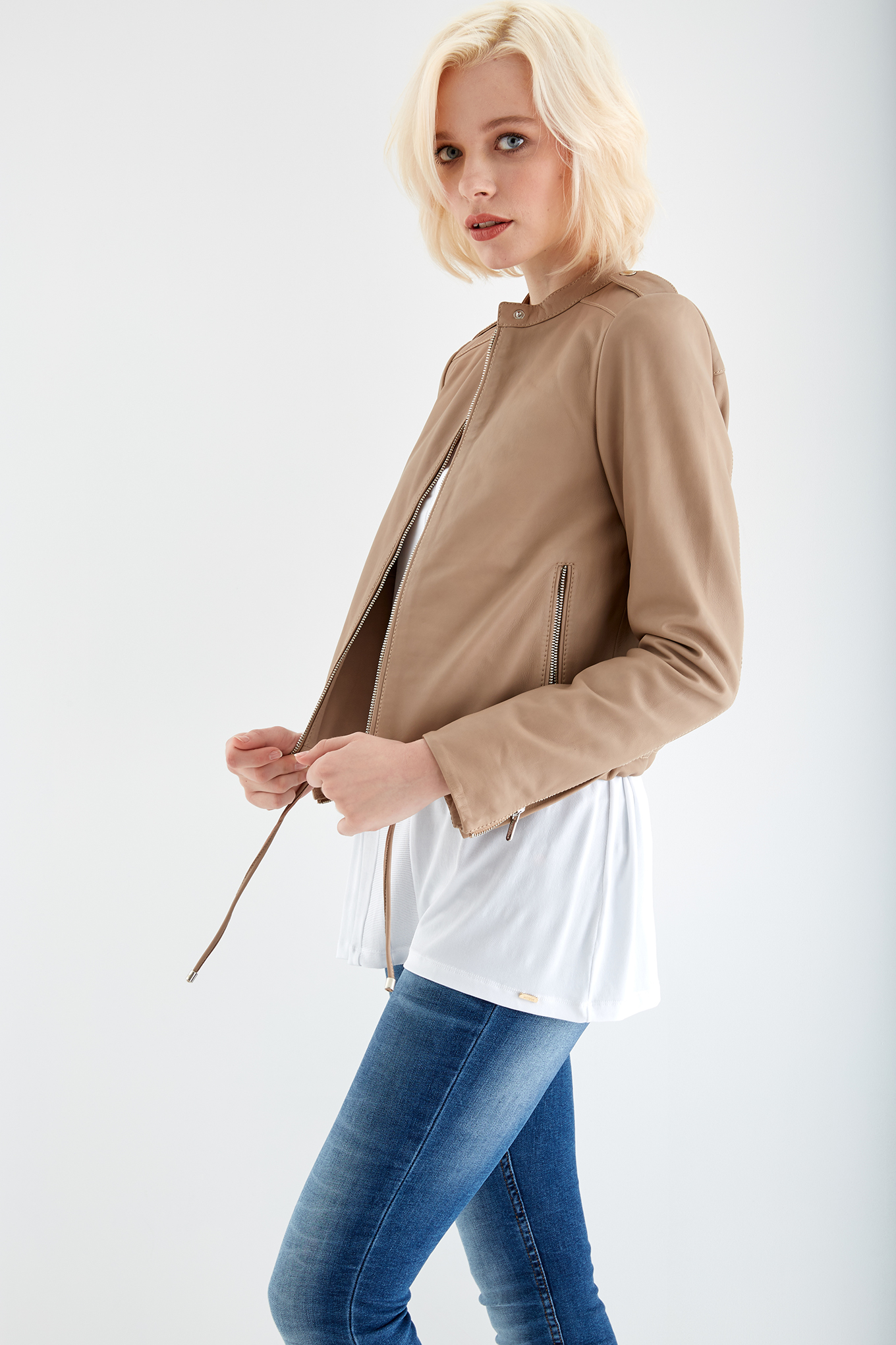 Leather Jacket Stone Casual Woman