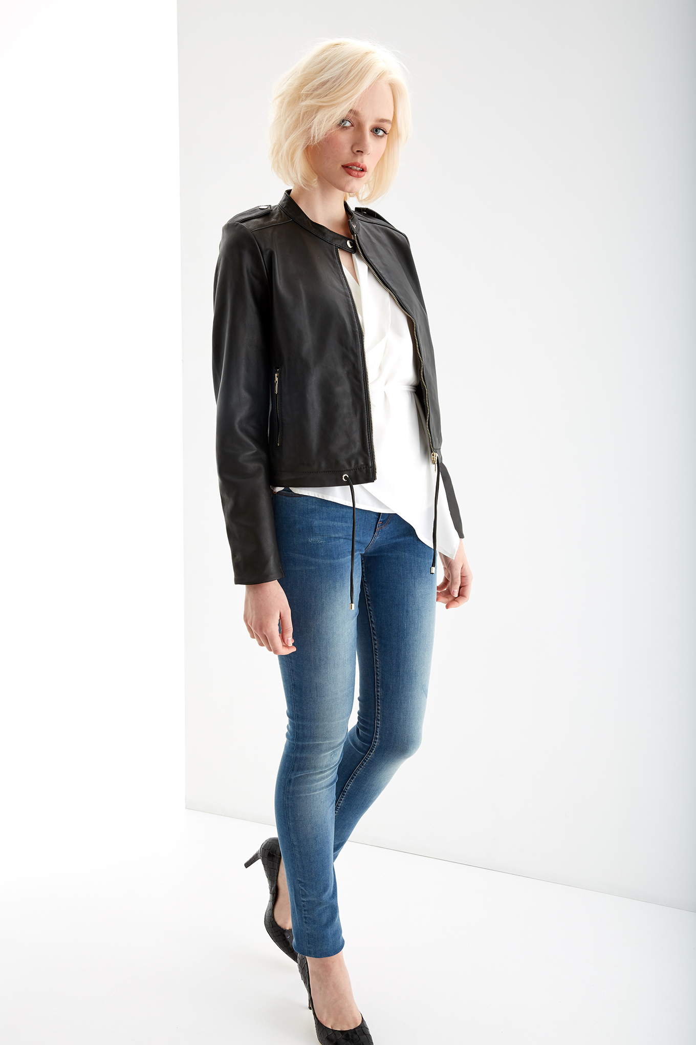 Leather Jacket Black Casual Woman