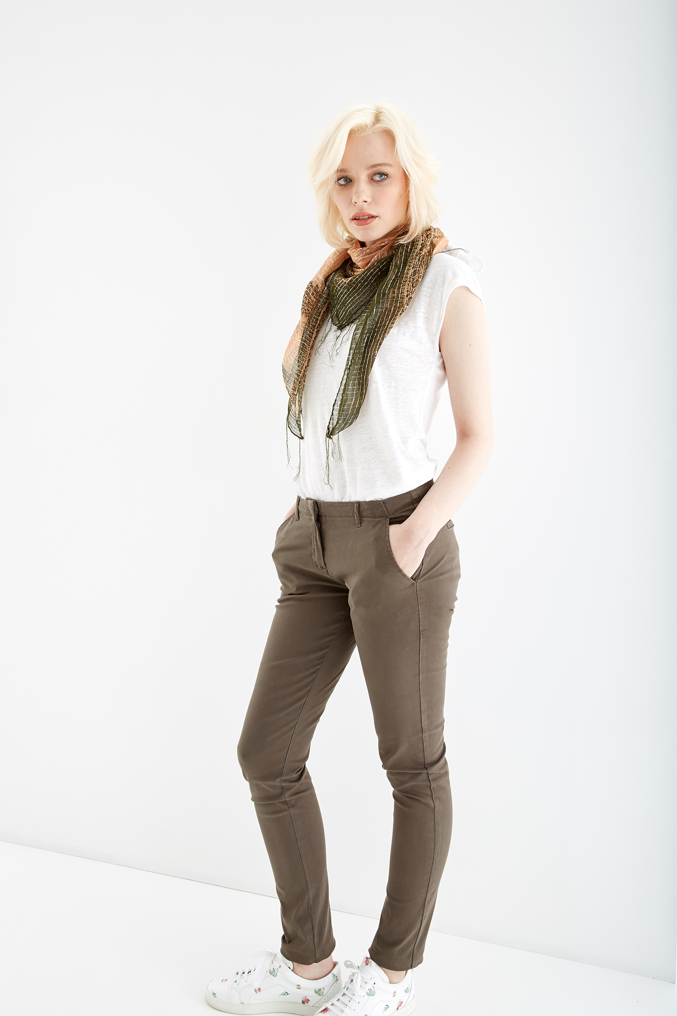 Chino Trousers Khaki Casual Woman