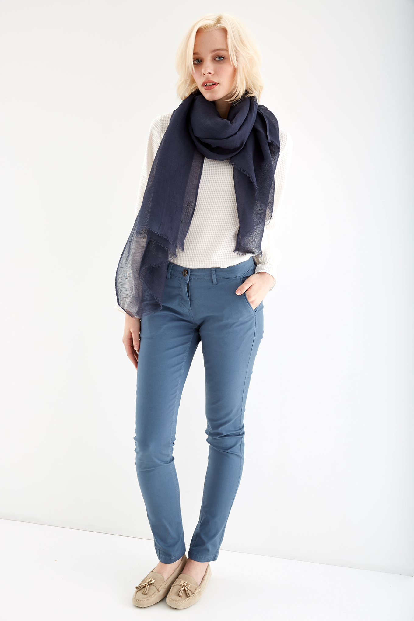 Chino Trousers Medium Blue Casual Woman