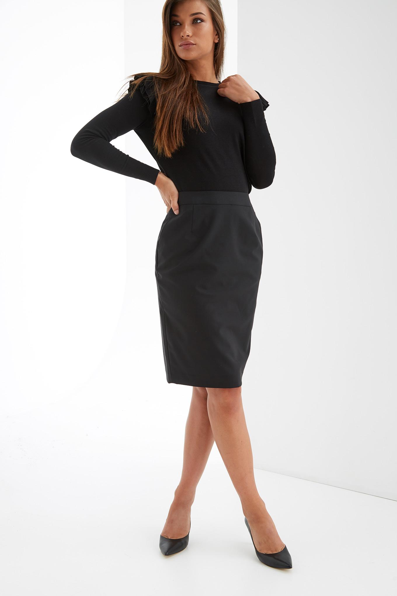 Skirt Black Classic Woman