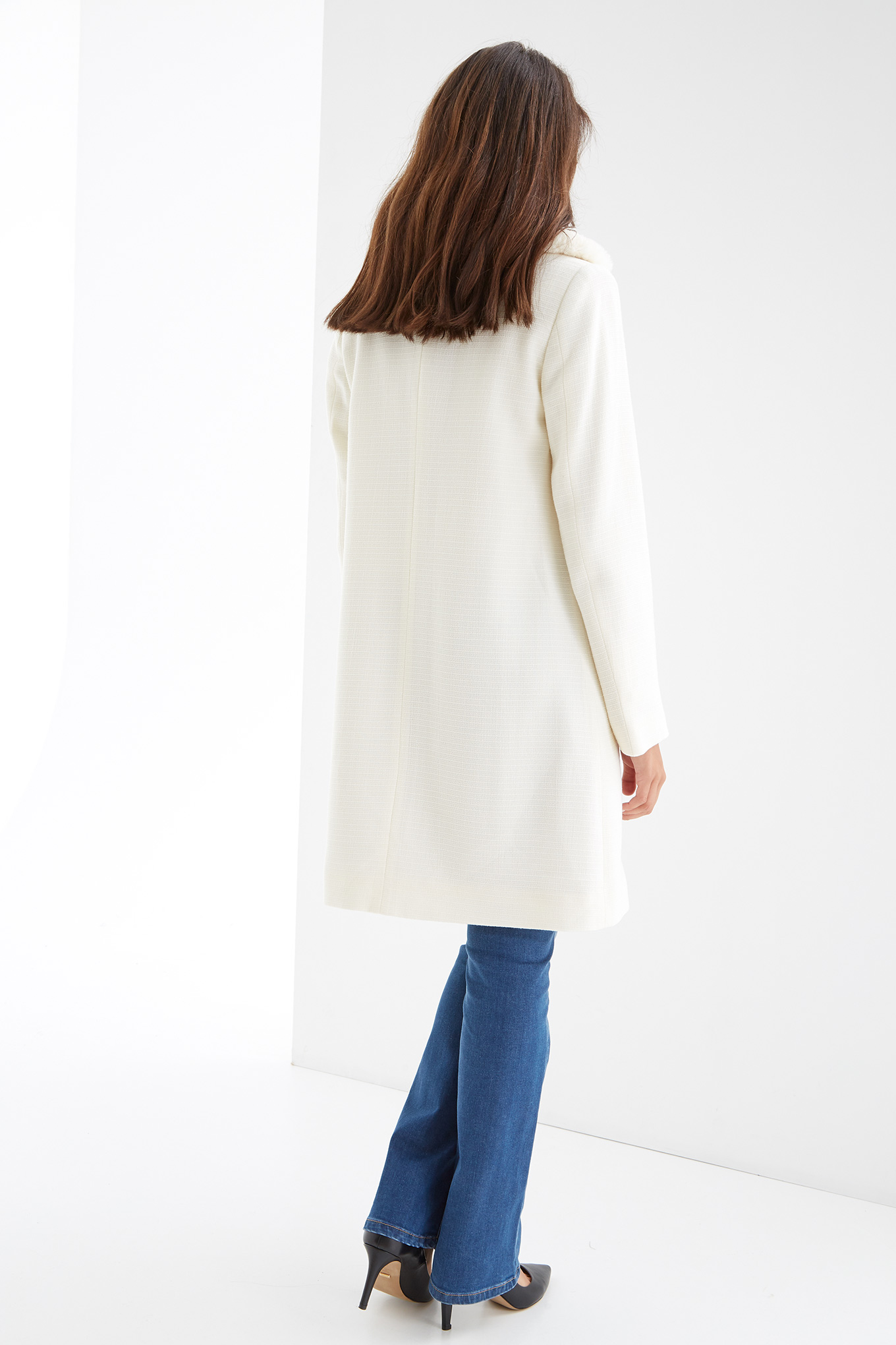 Overcoat Ecru Casual Woman