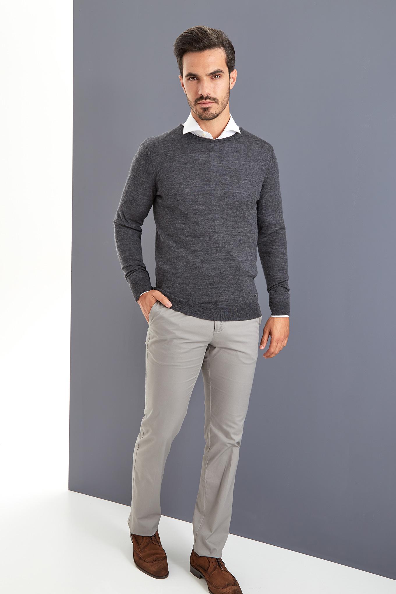 Sweater Dark Grey Casual Man