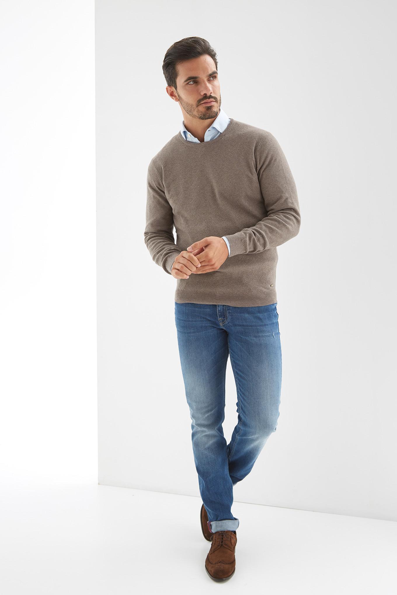 Sweater Dark Beige Casual Man