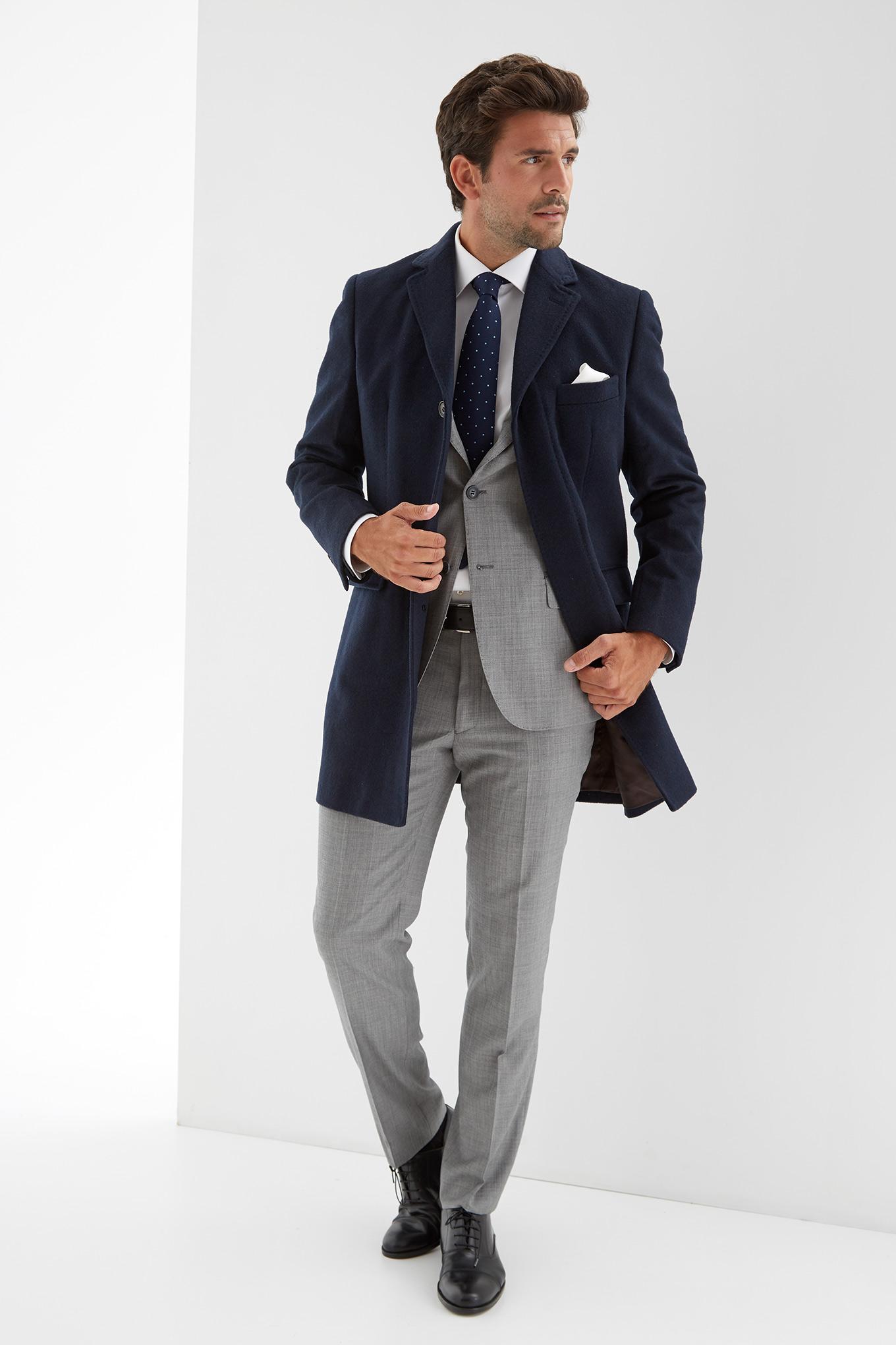 Overcoat Dark Blue Casual Man
