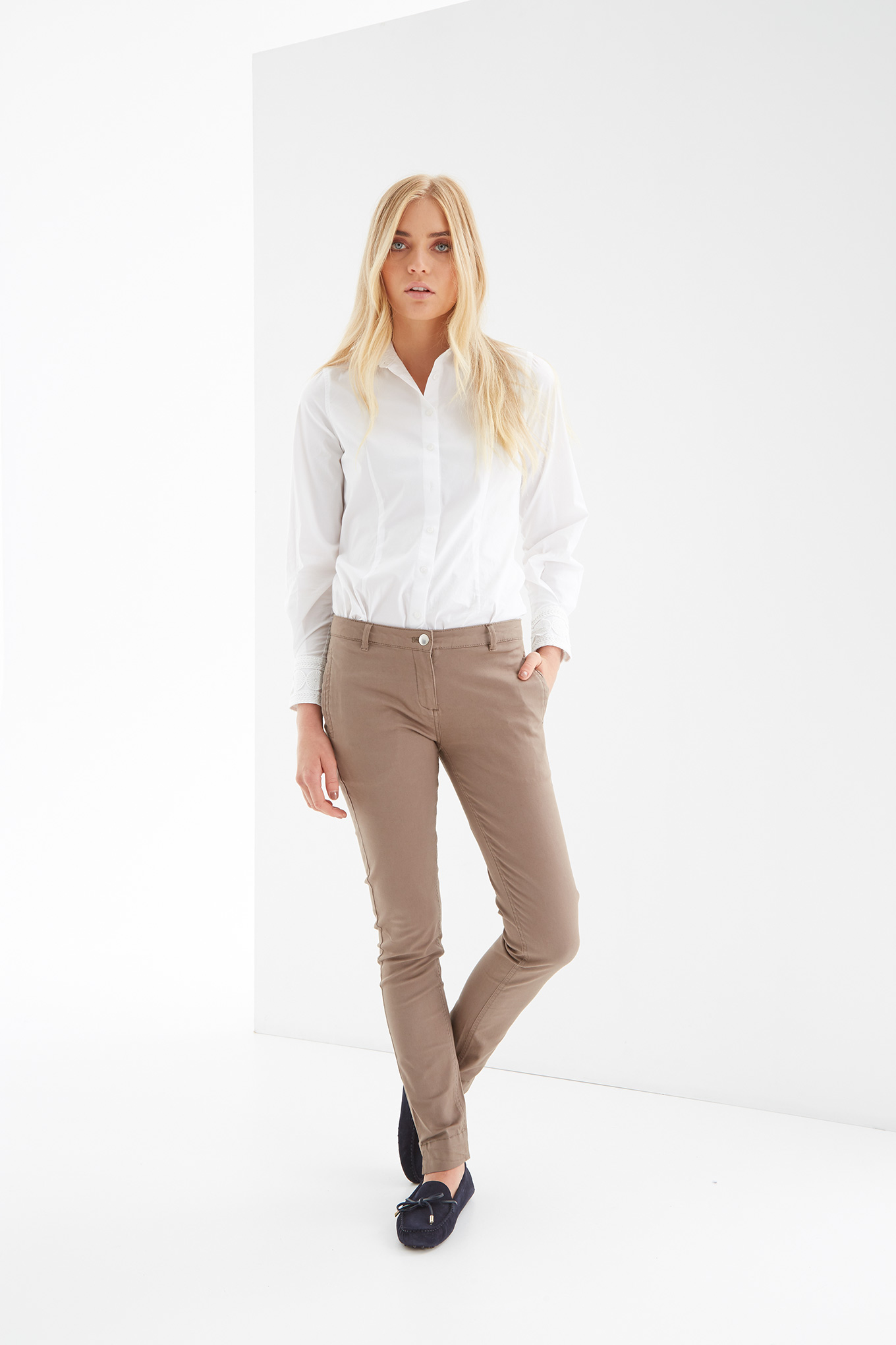 Chino Trousers Dark Beige Casual Woman