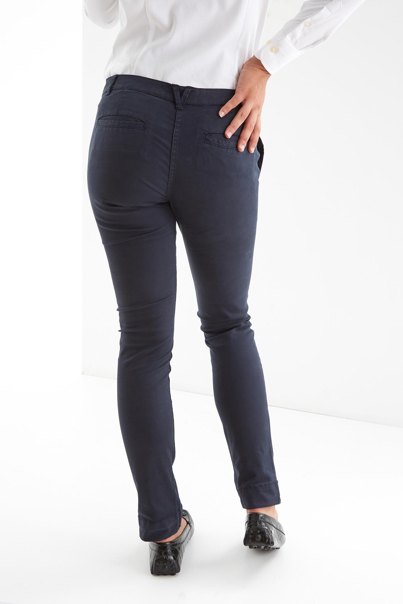 Calças Chino Azul Escuro Casual Mulher