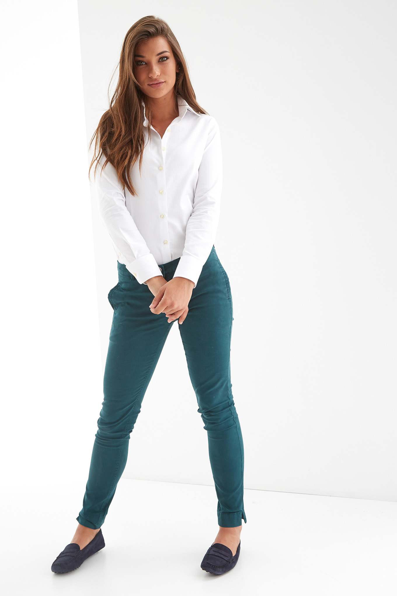 Chino Trousers Green Casual Woman